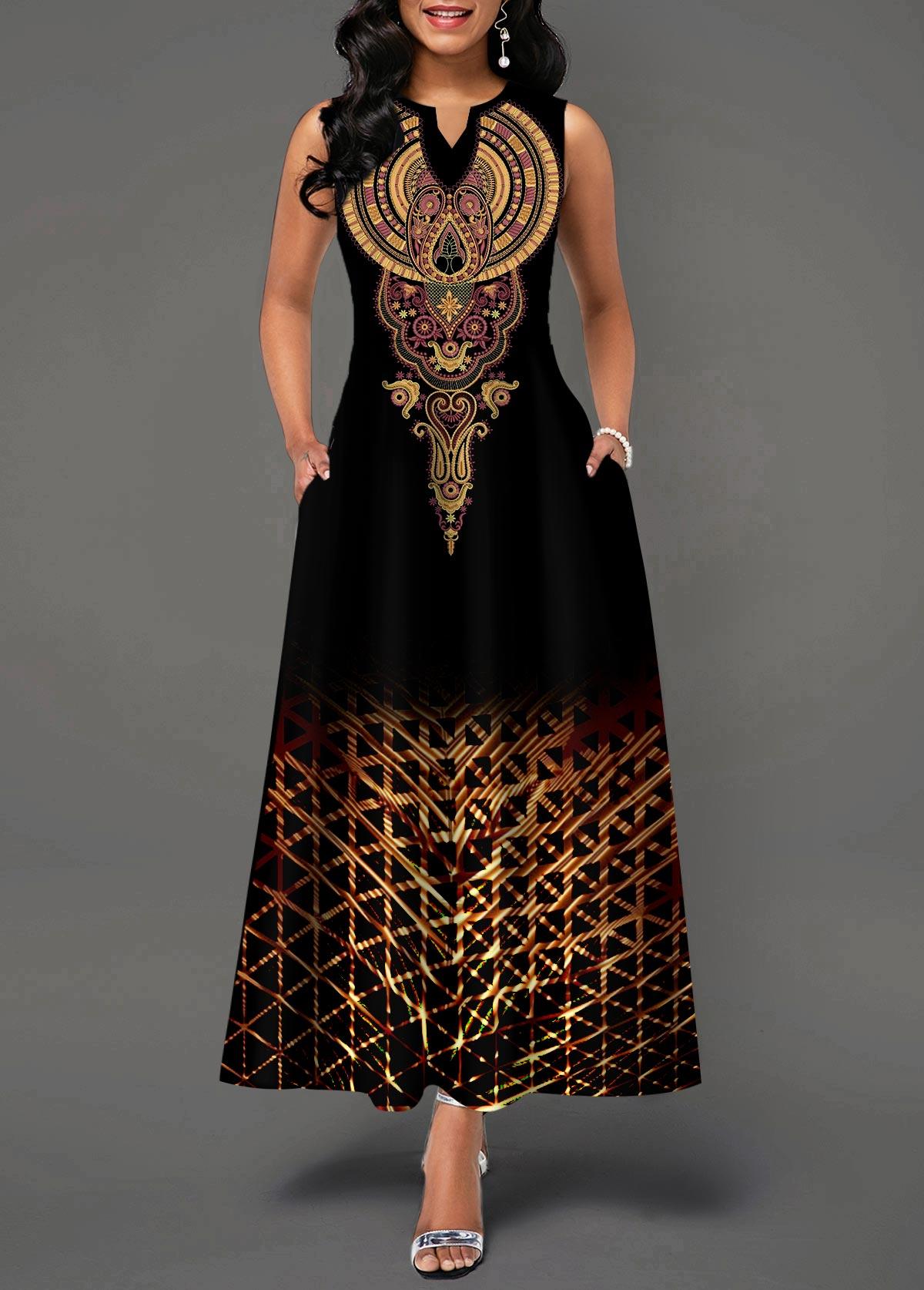 Split Neck Sleeveless High Waist Dress