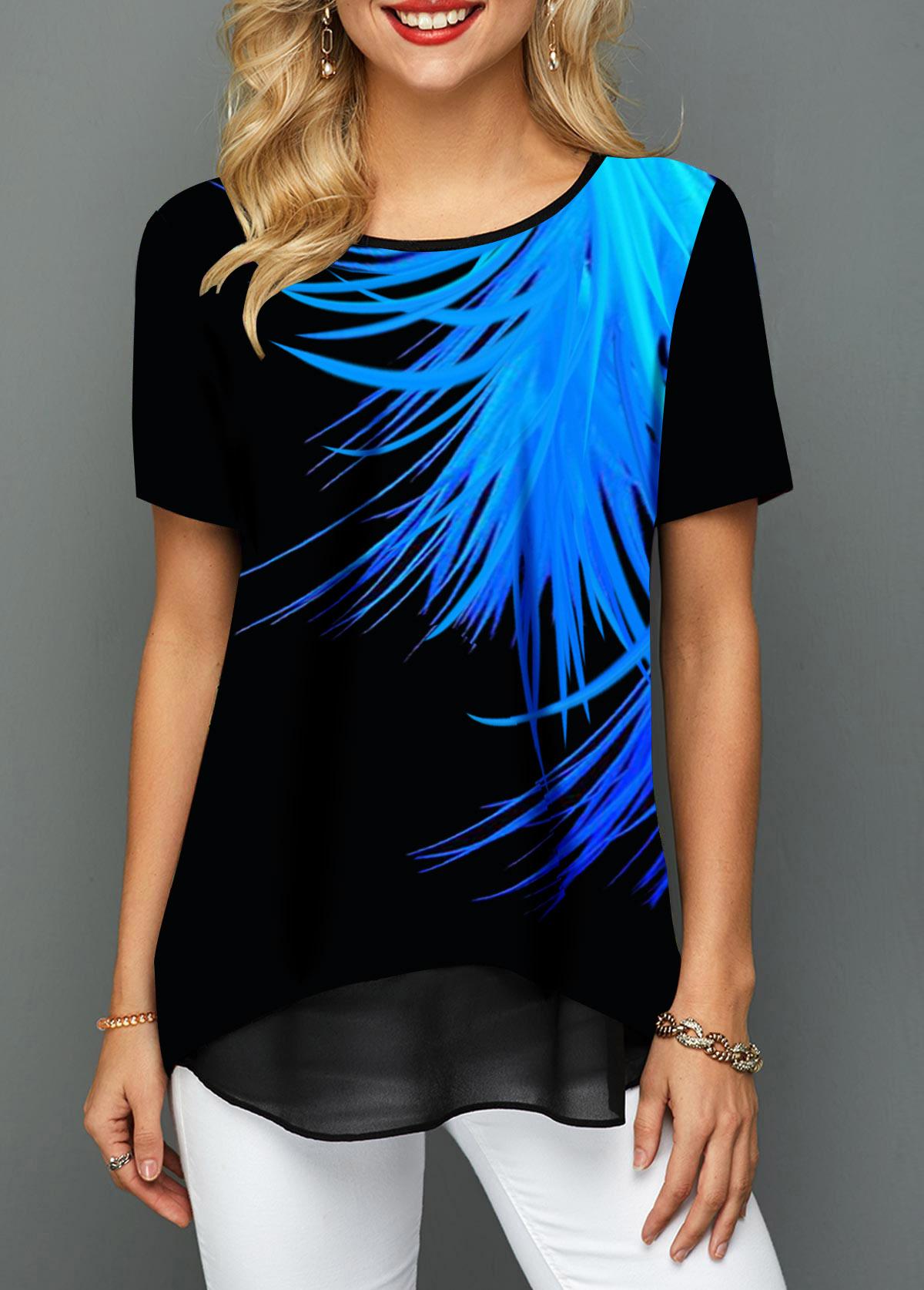 Printed Round Neck Short Sleeve T Shirt