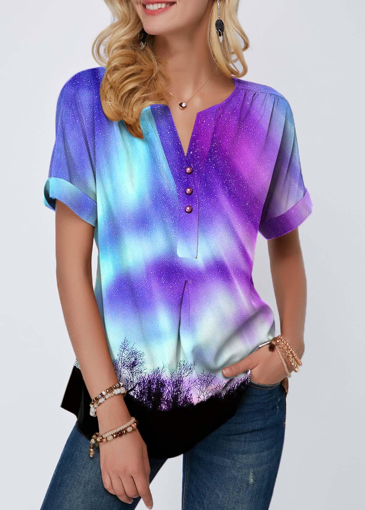 Split Neck Button Front Printed T Shirt