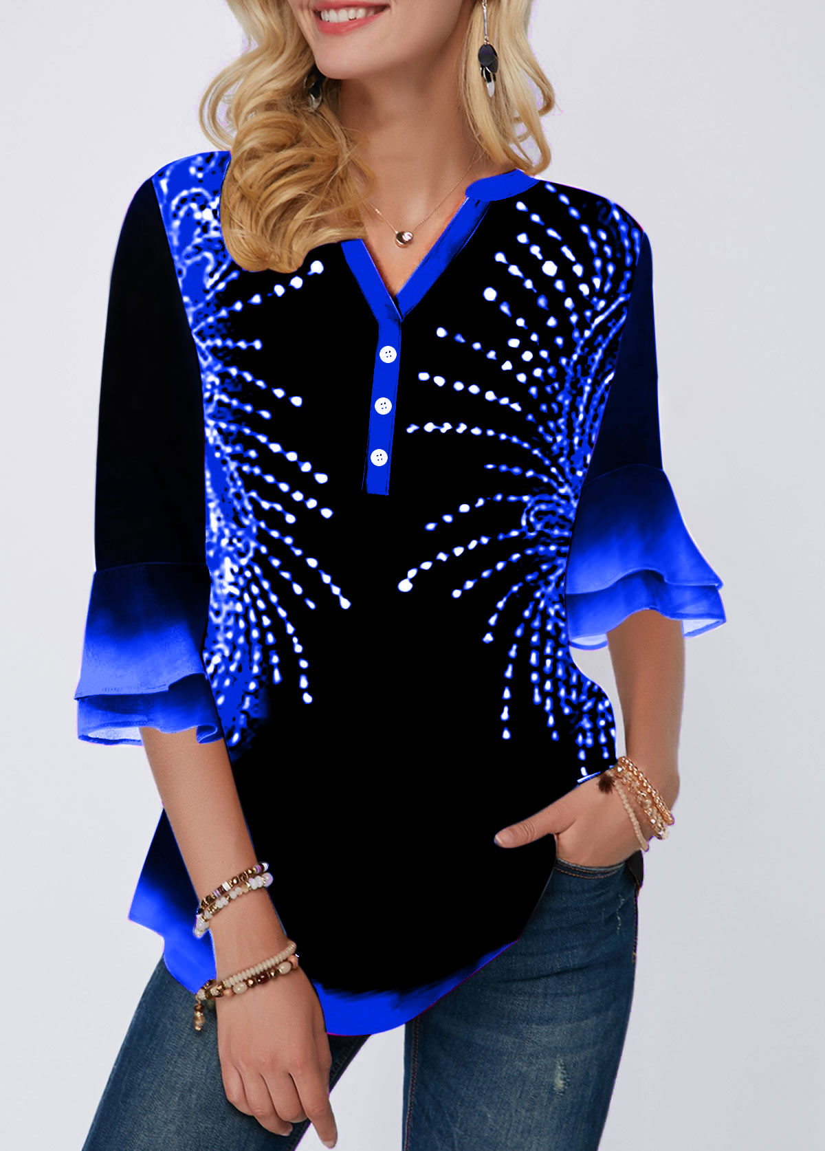 Flare Cuff Printed Button Detail Blouse
