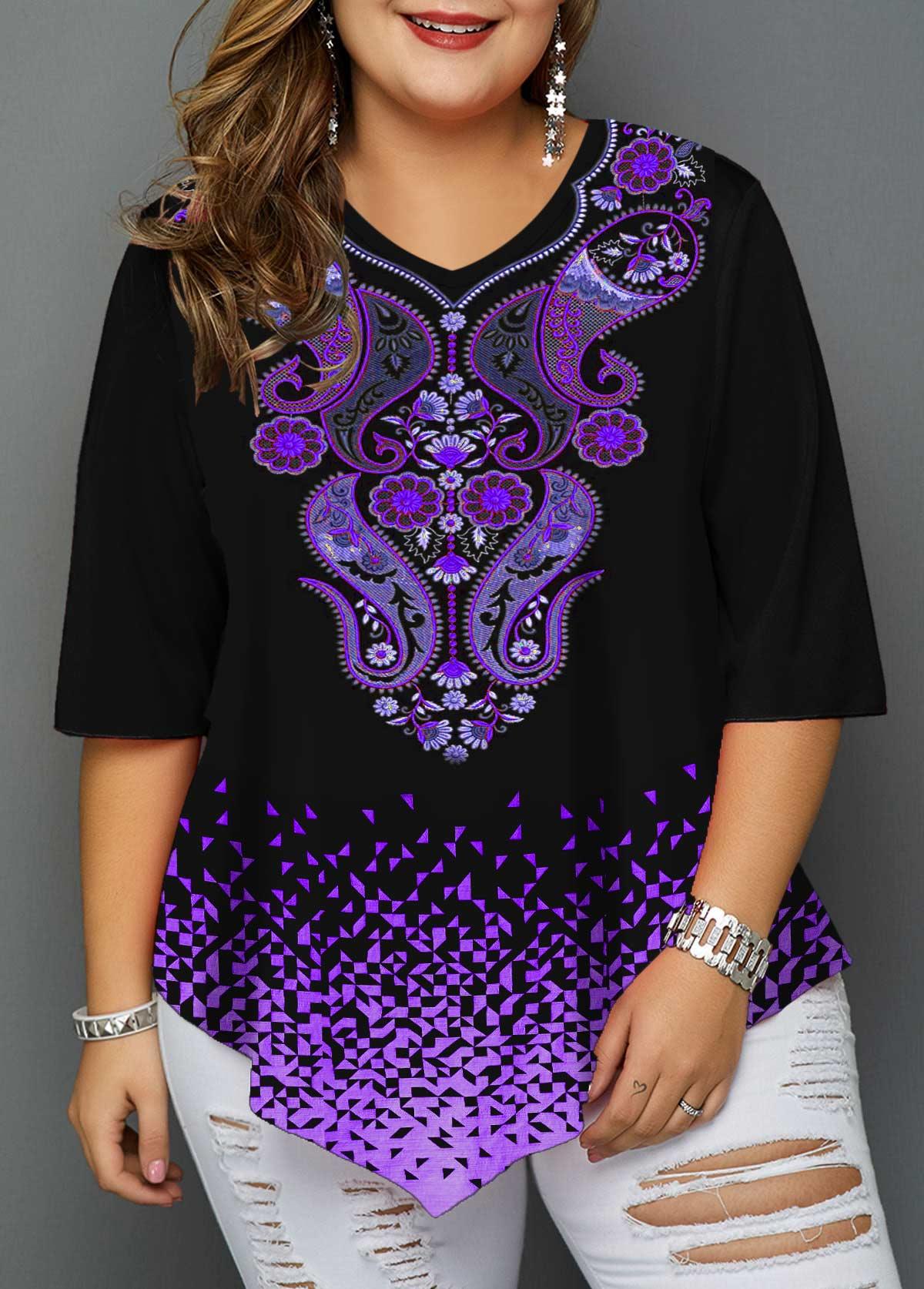 Plus Size Paisley Print Asymmetric Hem T Shirt