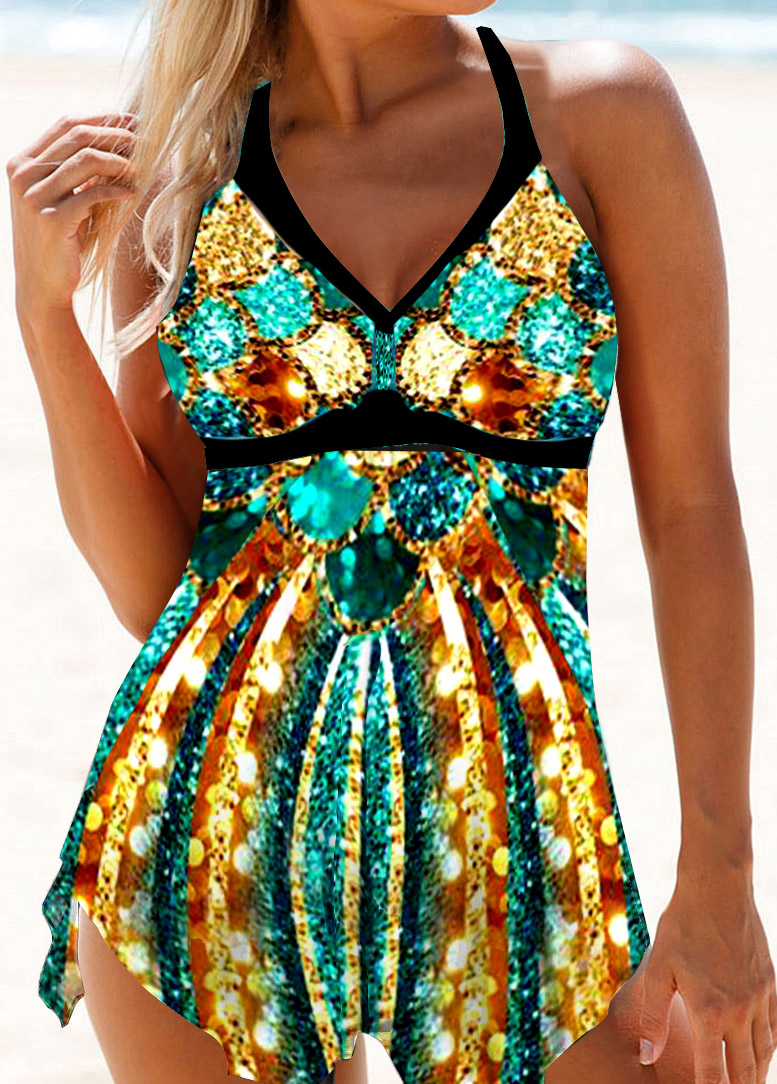 Printed Asymmetric Hem Halter Neck Swimdress and Panty
