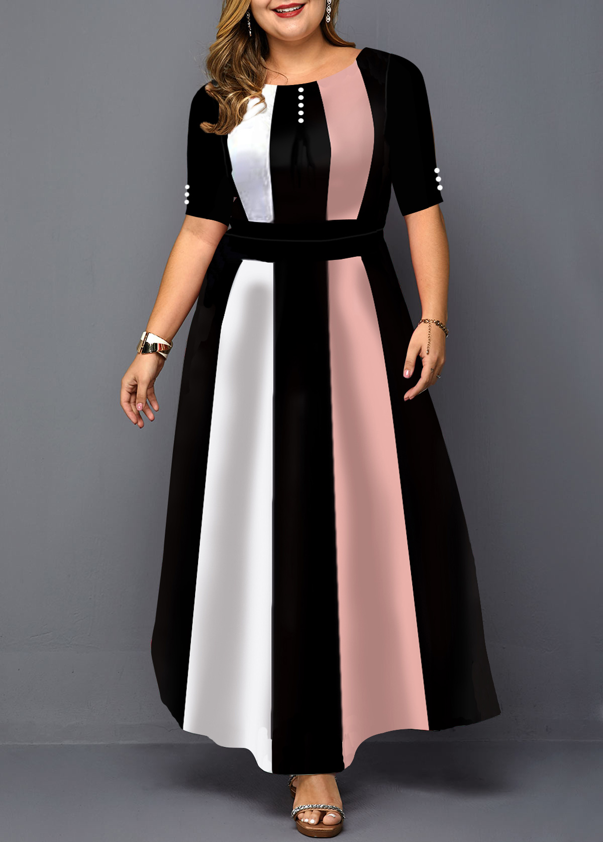 Plus Size Color Block Half Sleeve Maxi Dress