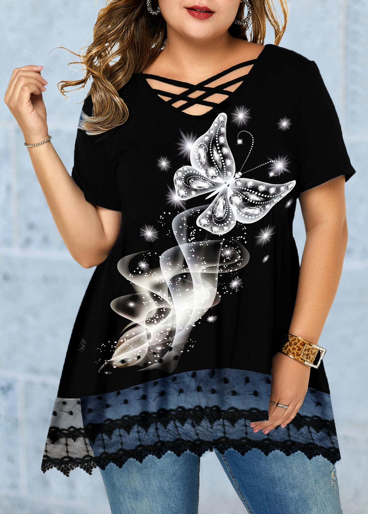 Plus Size Butterfly Print Lace Panel T Shirt