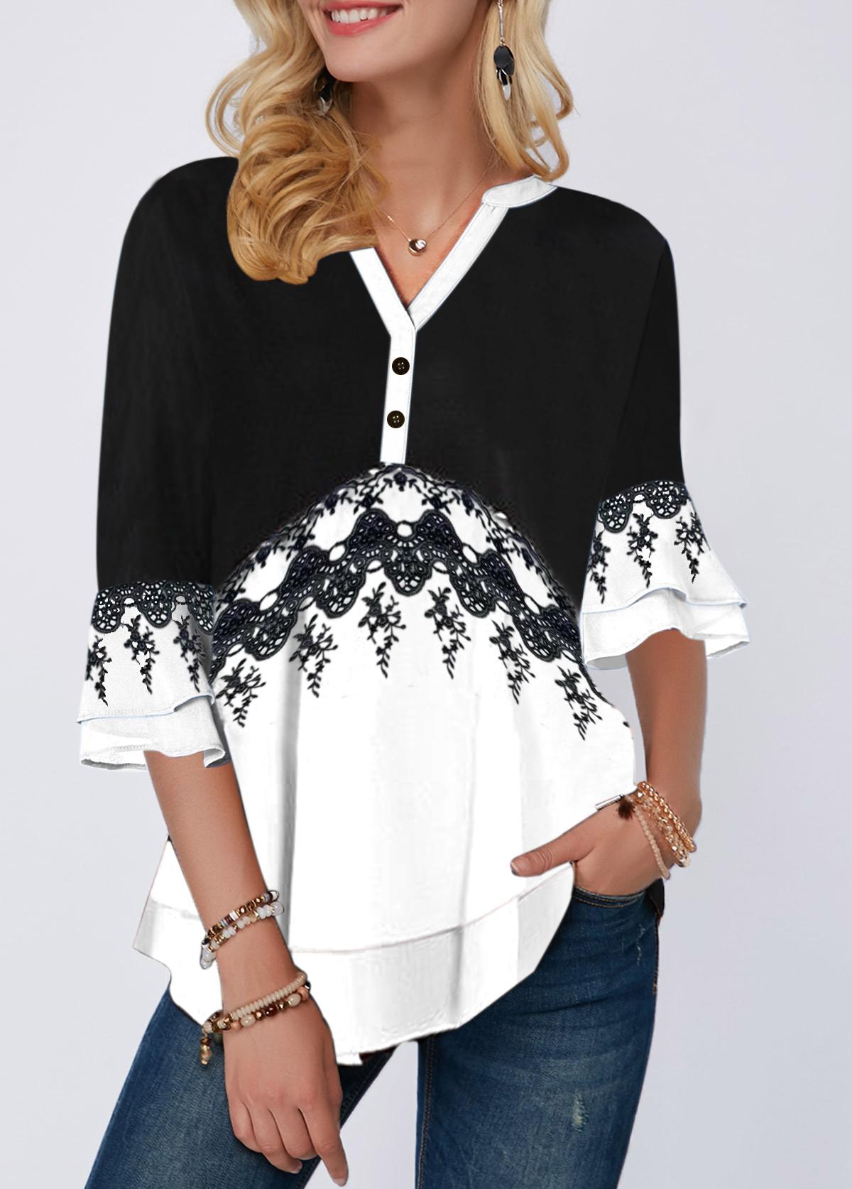 Split Neck Layered Bell Sleeve Button Detail Blouse