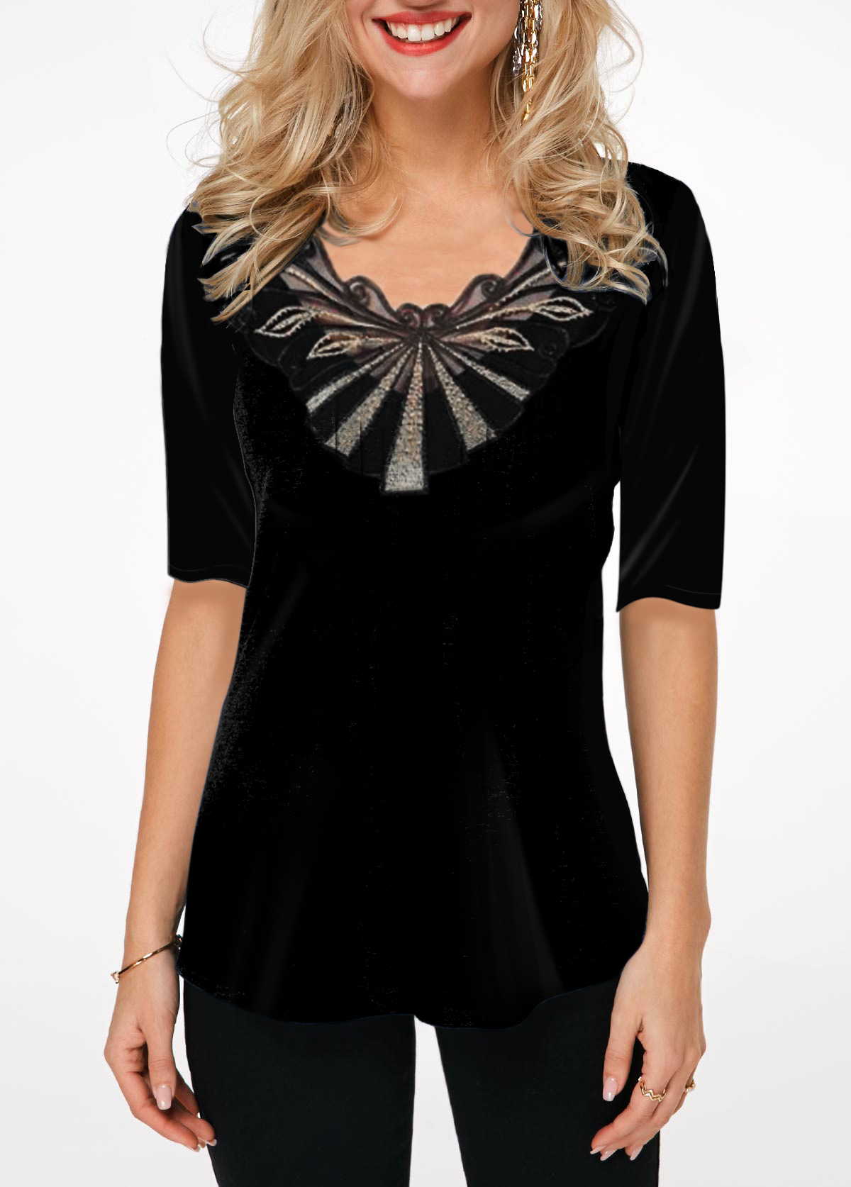 Lace Panel Half Sleeve Black T Shirt