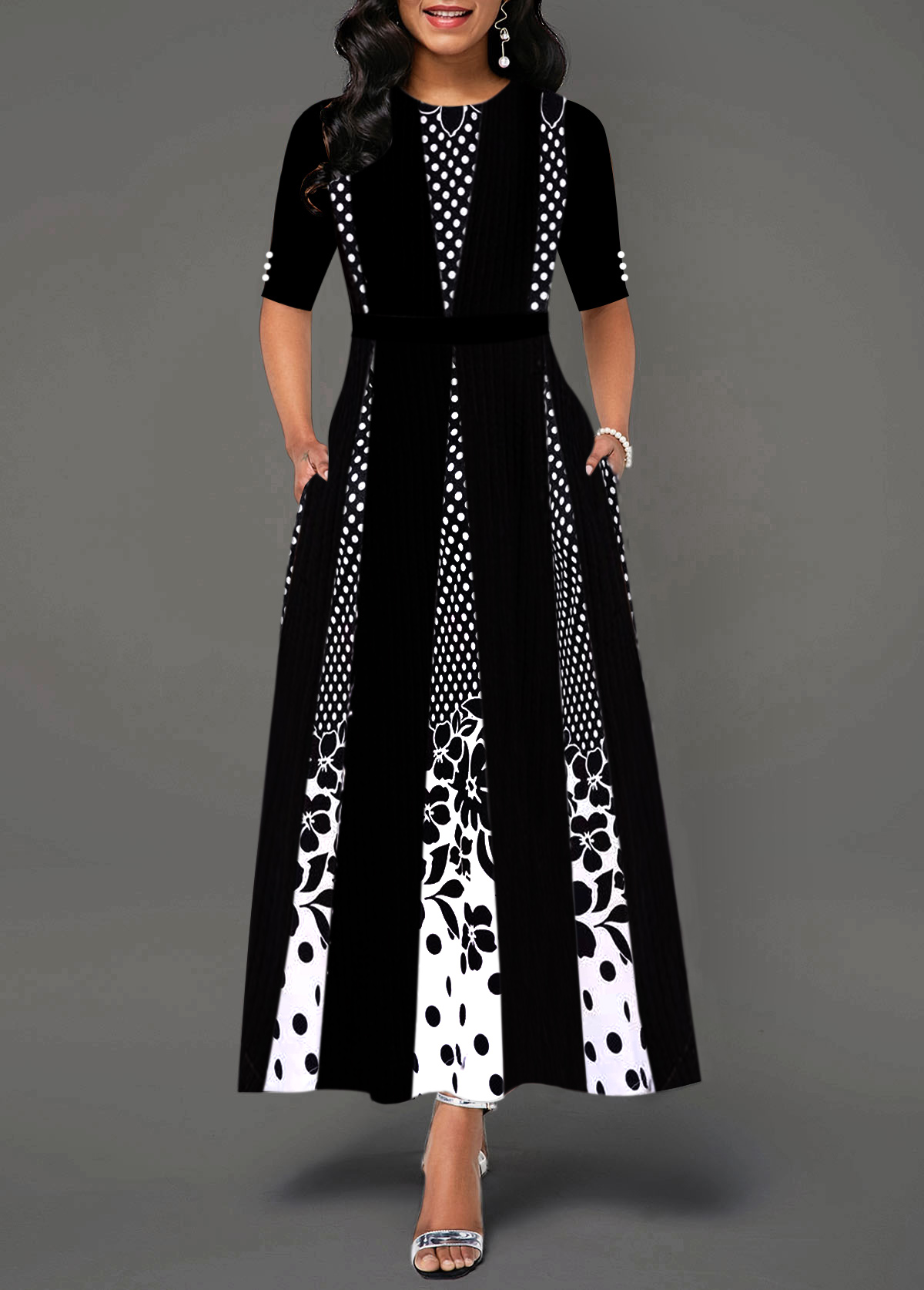 Printed Half Sleeve Button Detail Maxi Dress