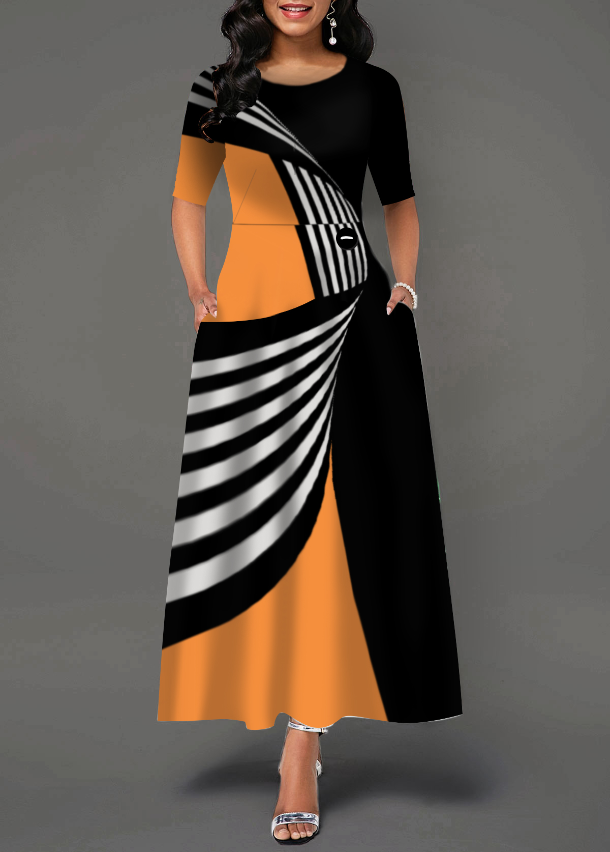 Color Block Round Neck Pocket Dress