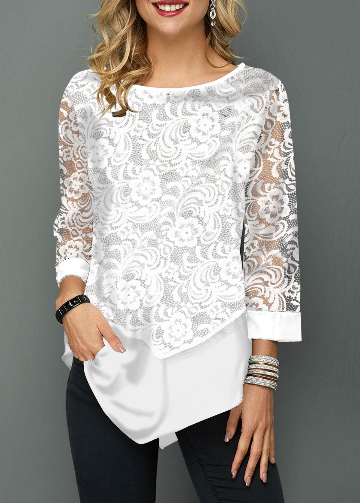 Lace Panel Asymmetric Hem Round Neck T Shirt