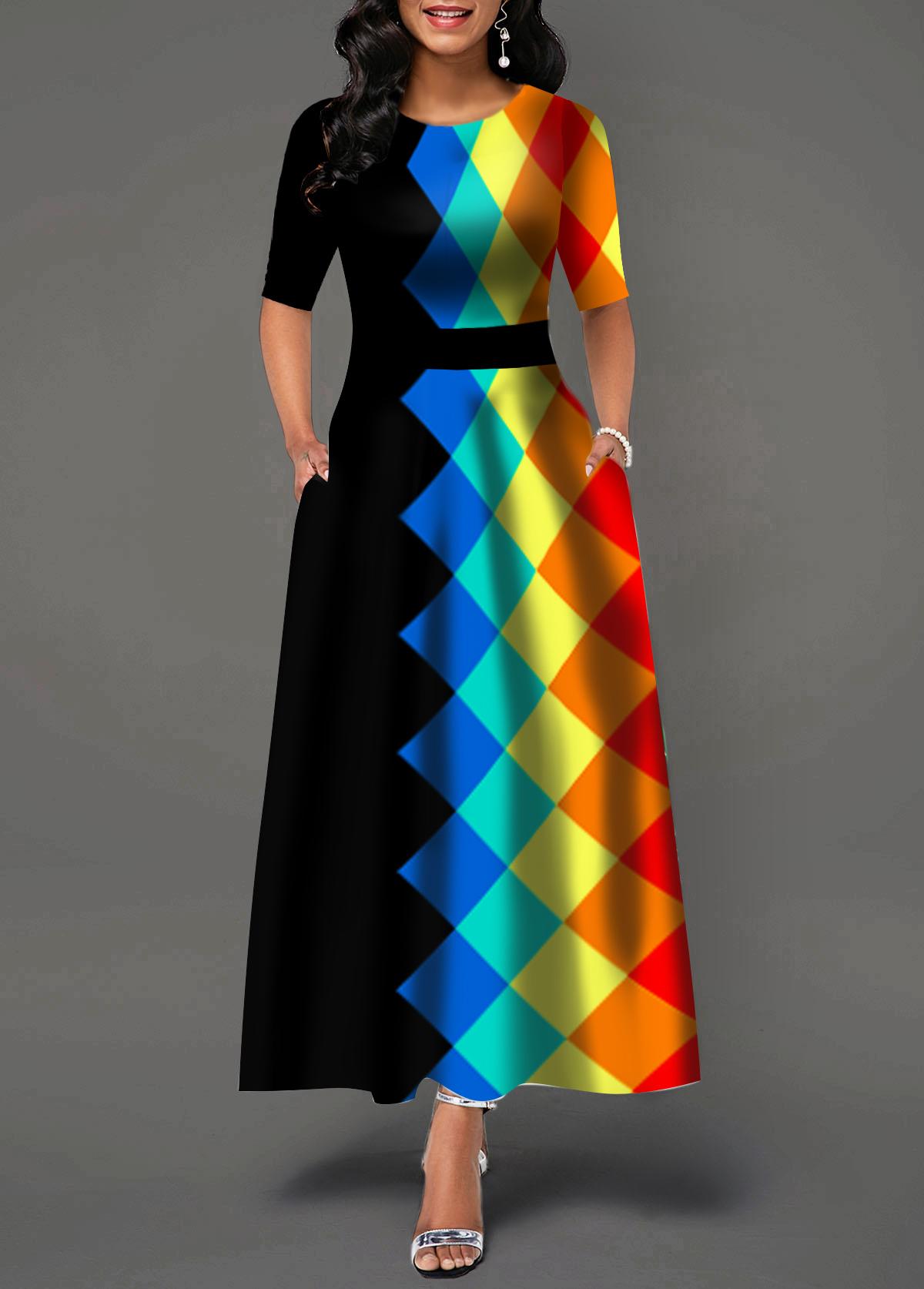 Geometric Print Round Neck Half Sleeve Maxi Dress