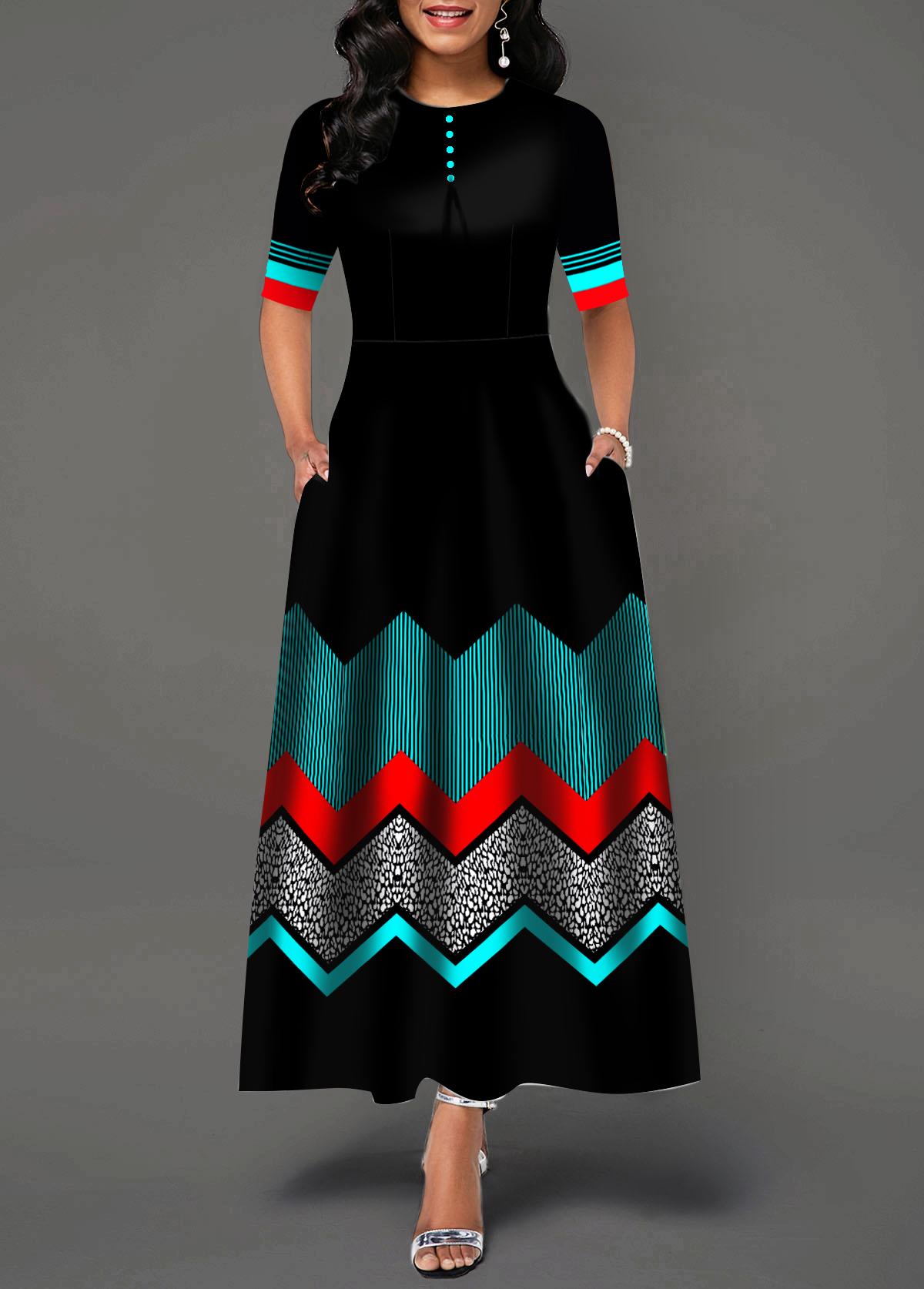 Color Block Chevron Print Button Detail Dress