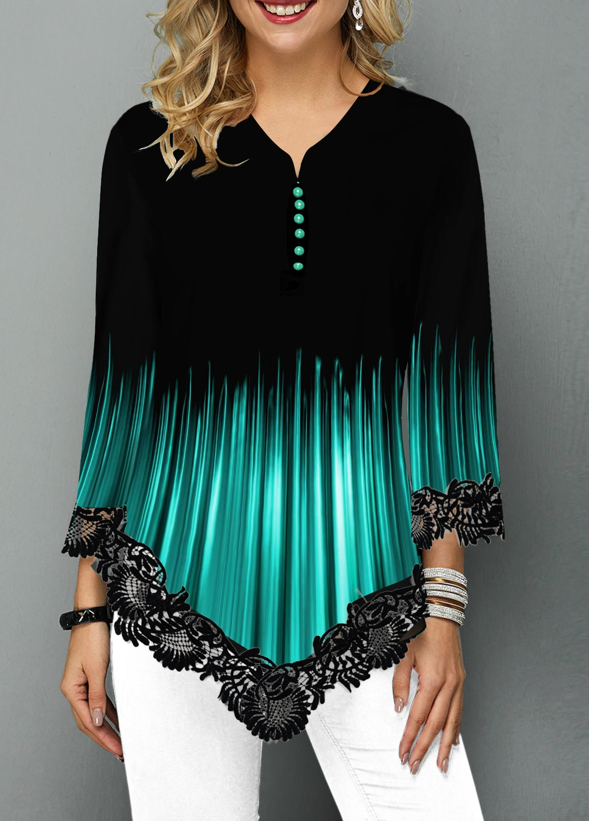 Lace Panel Asymmetric Hem Gradient Blouse