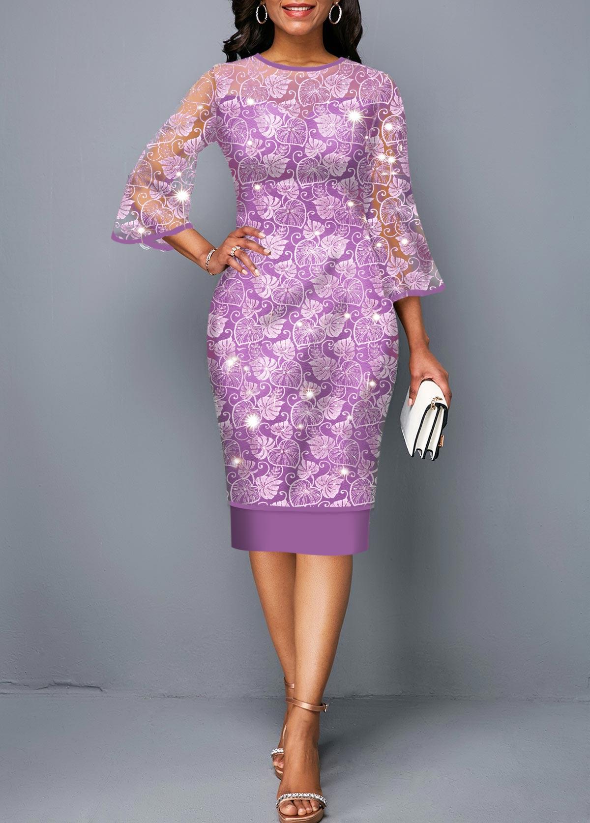 Three Quarter Sleeve Round Neck Purple Lace Dress