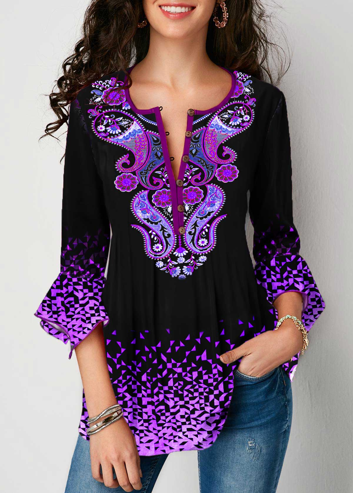 Tribal Print Flare Cuff Gradient Blouse