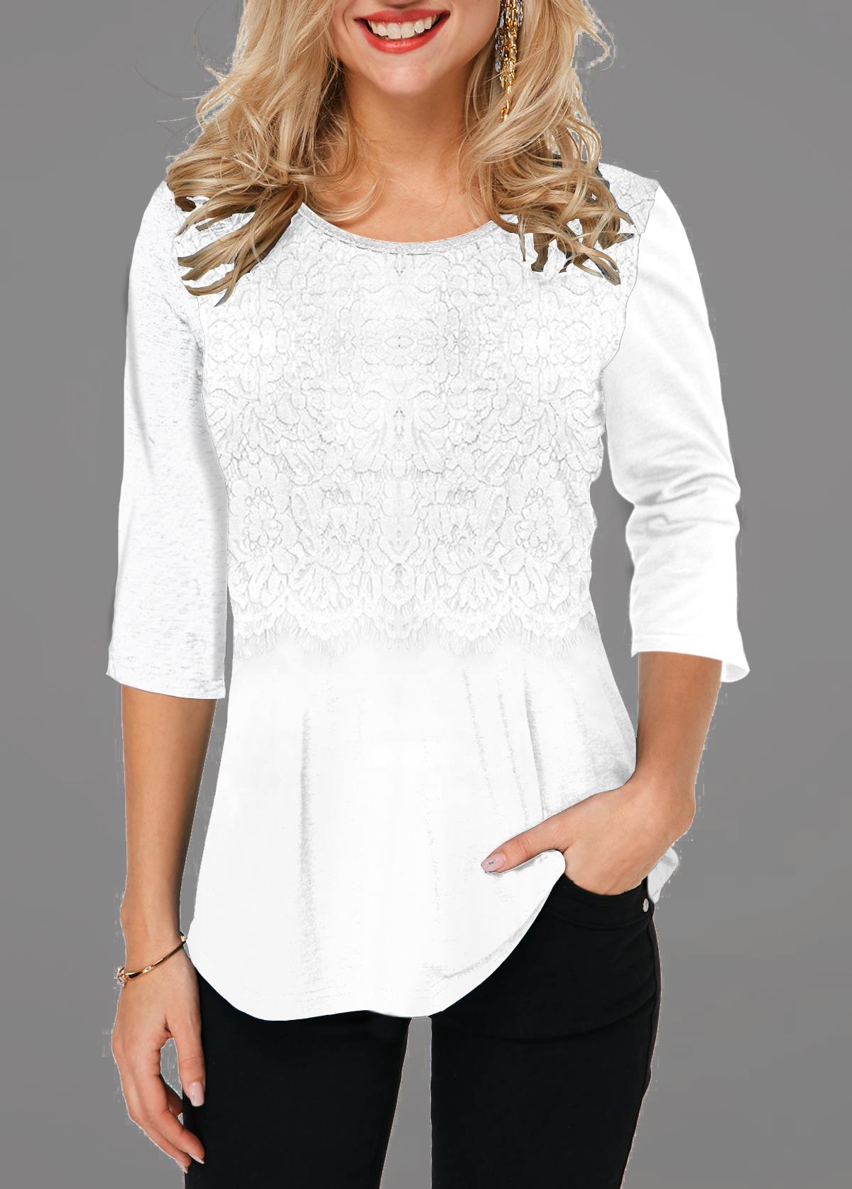 Lace Panel Round Neck White T Shirt
