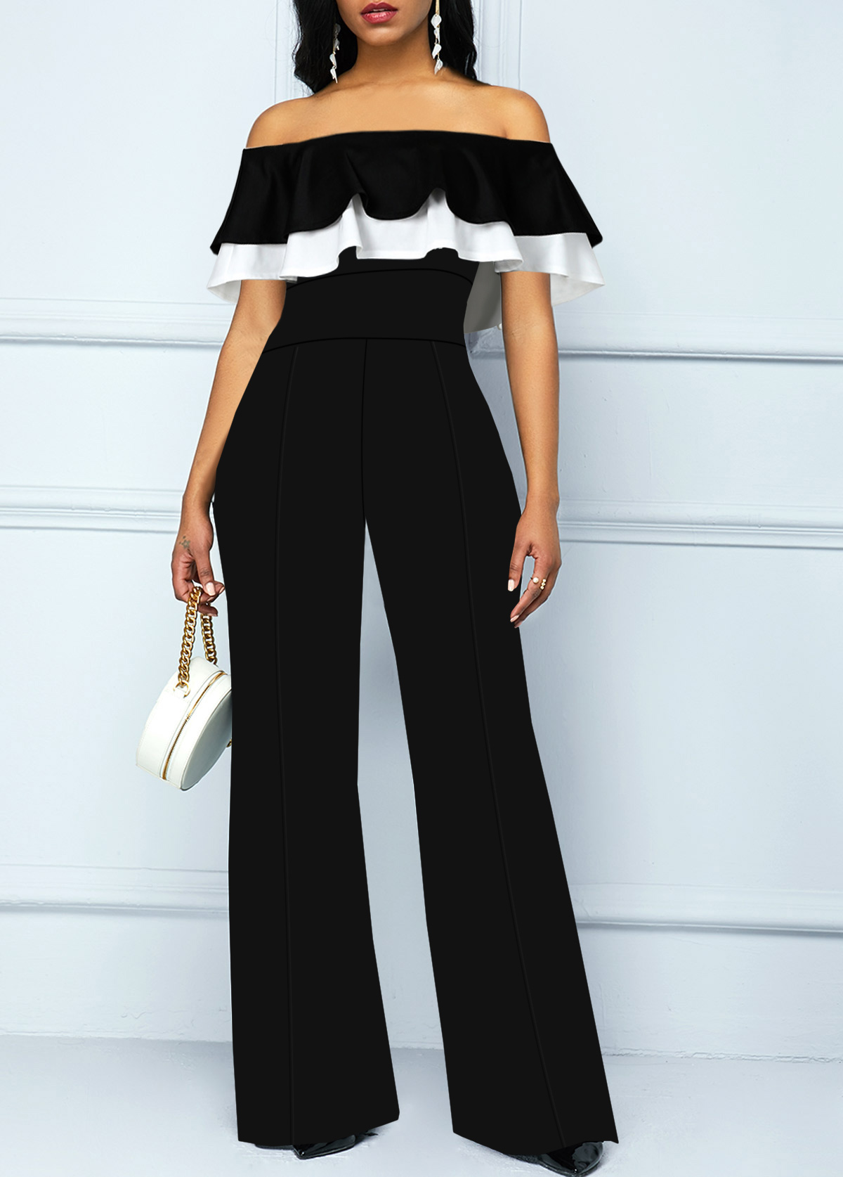 Off the Shoulder Ruffle Overlay Black Jumpsuit