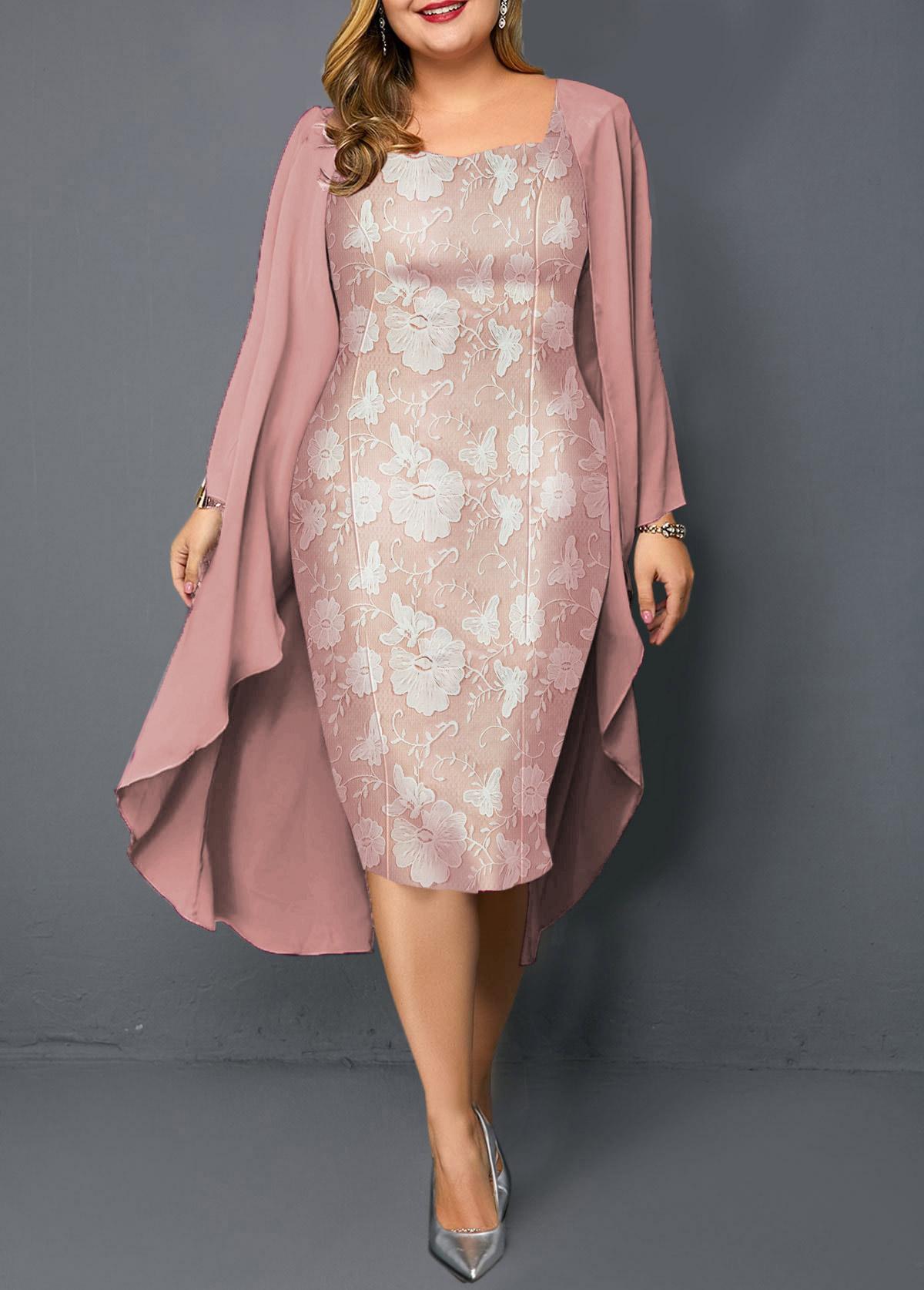 Plus Size Pink Chiffon Cardigan and Sheath Dress