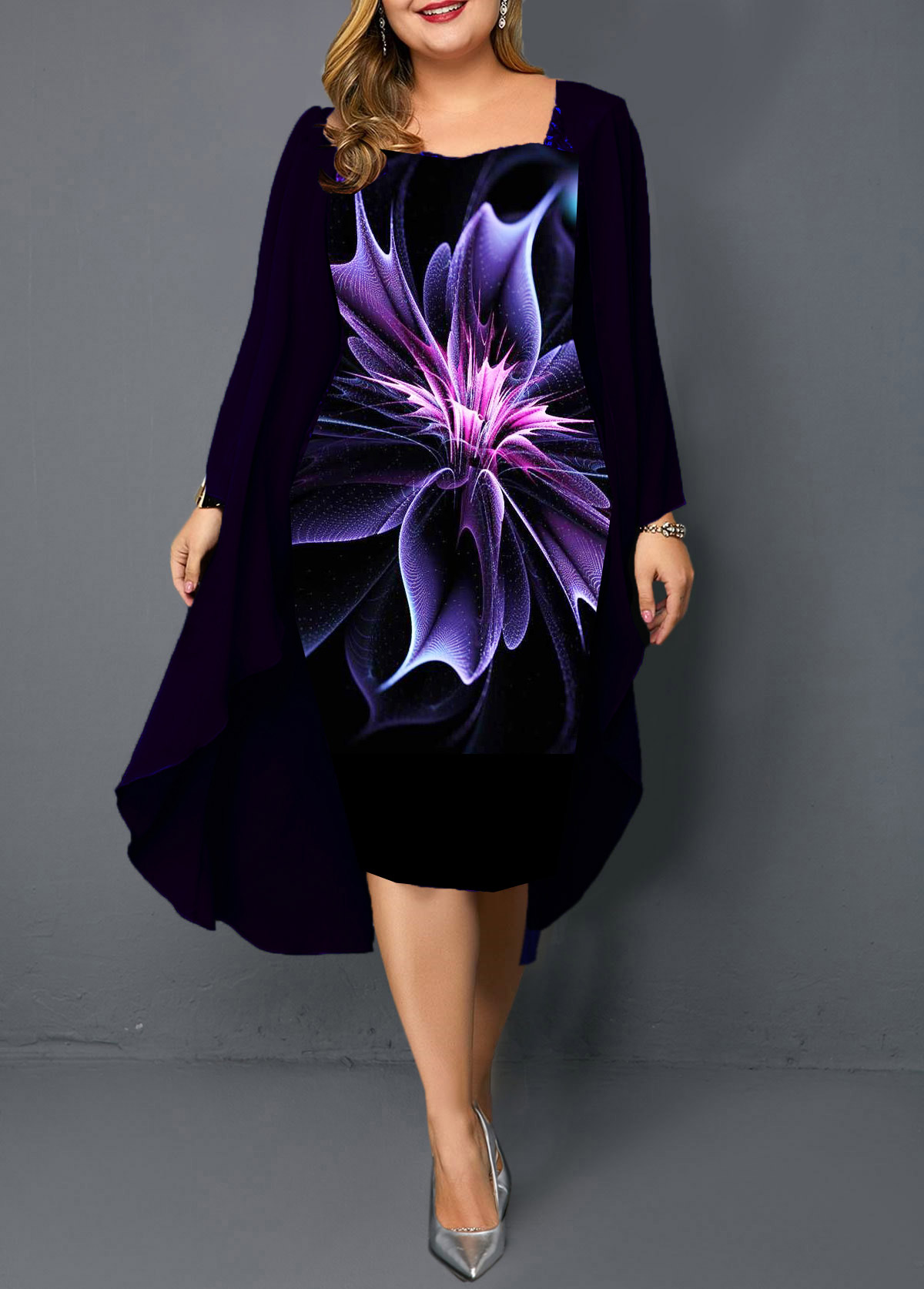 Plus Size Long Sleeve Chiffon Cardigan and Printed Dress