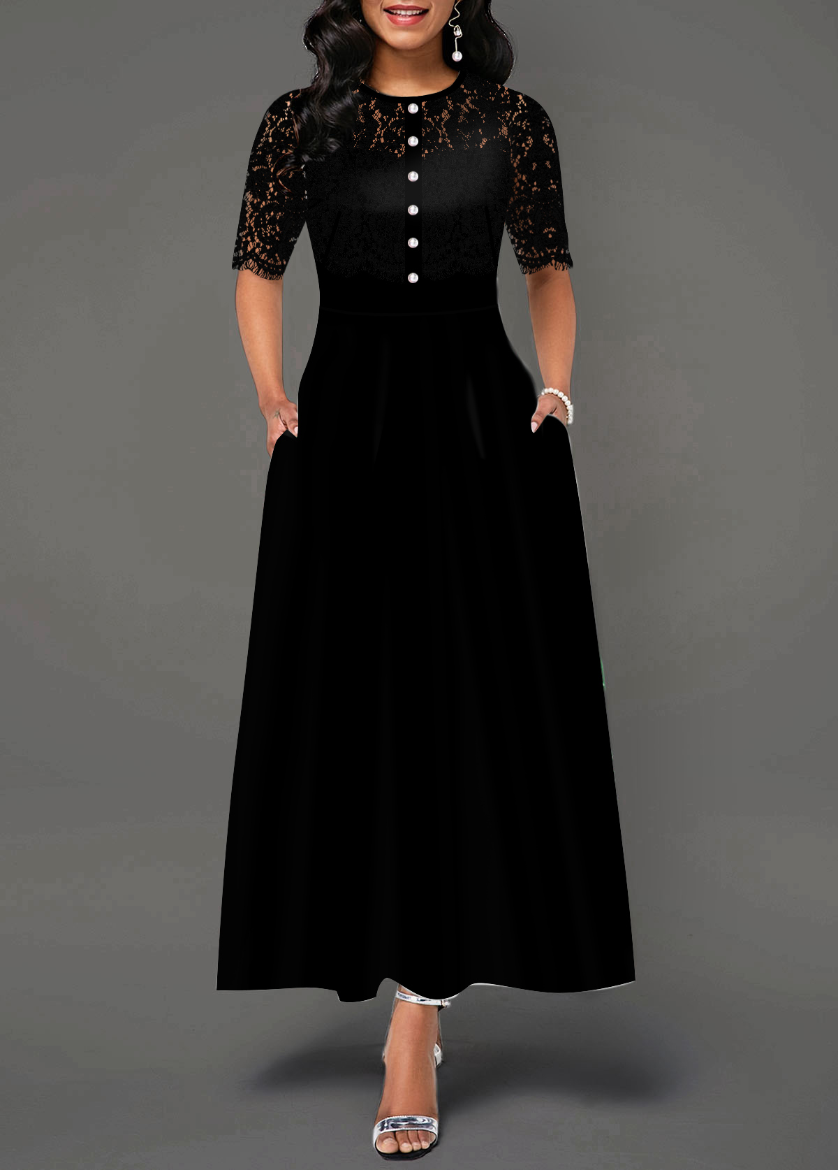 Lace Panel Button Front Pocket Dress