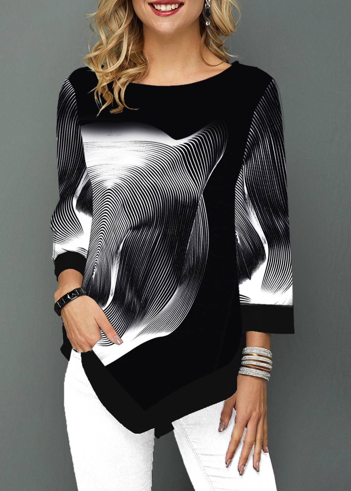 Asymmetric Hem Printed Three Quarter Sleeve T Shirt