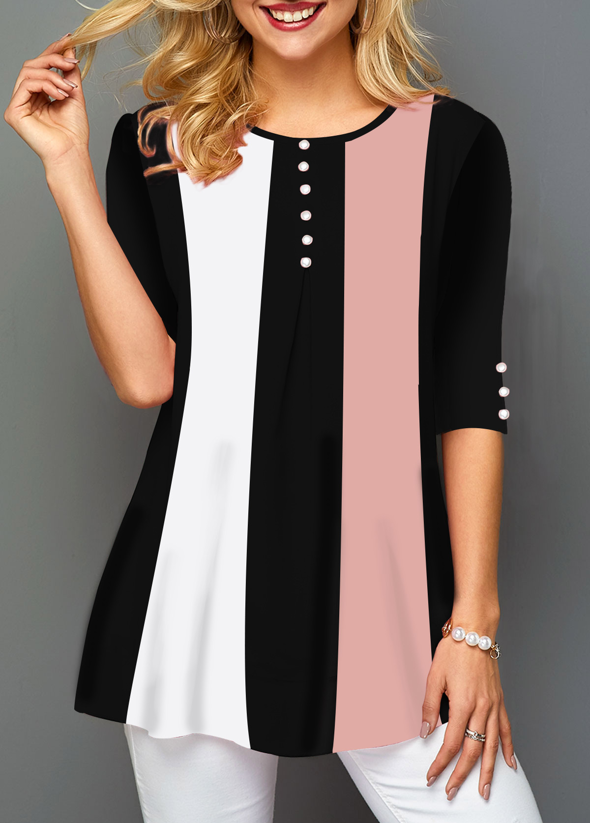 Button Embellished Round Neck Half Sleeve T Shirt