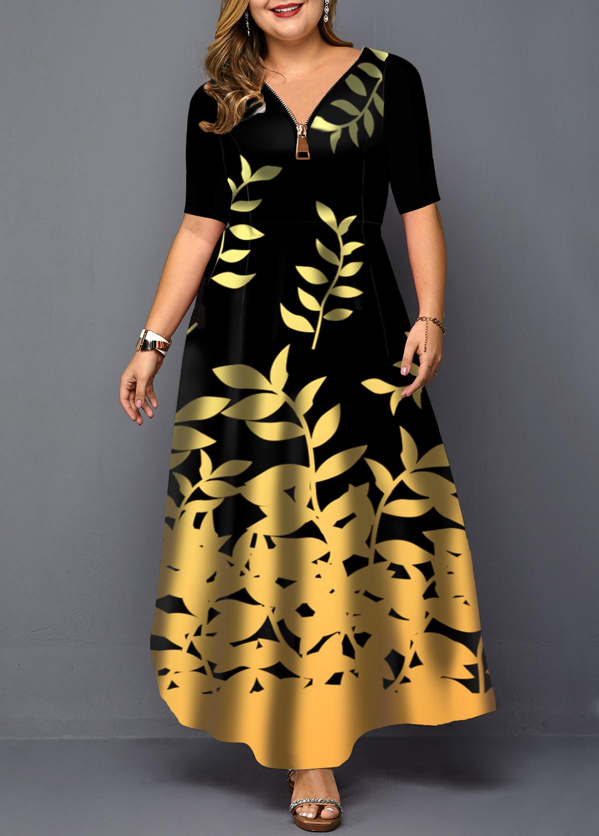Plus Size Zipper Detail Leaf Print Maxi Dress