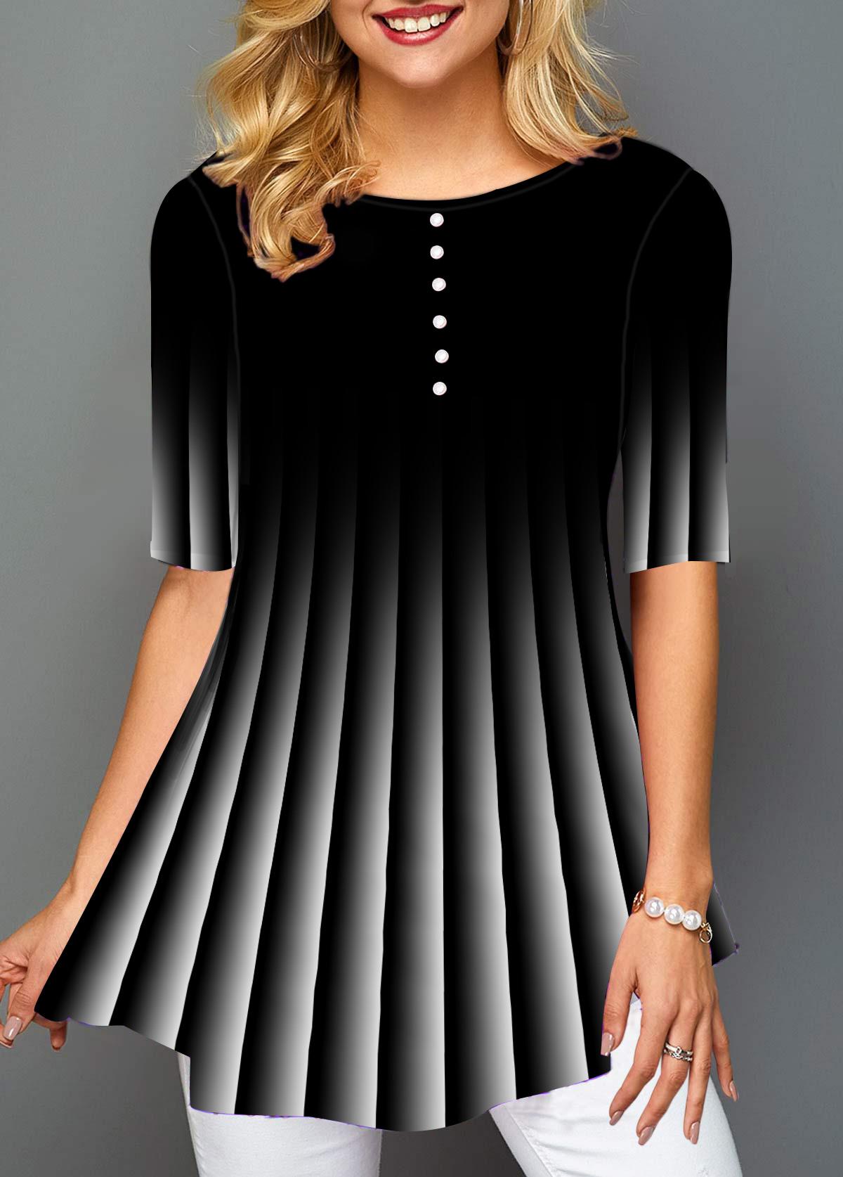 Gradient Stripe Print Button Detail T Shirt
