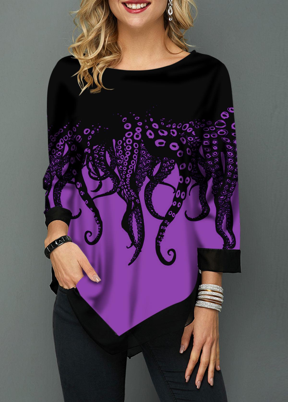 Octopus Print Asymmetric Hem Three Quarter Sleeve T Shirt