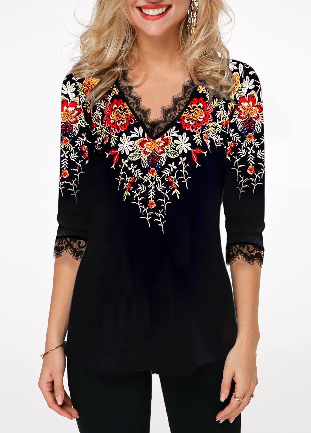 Floral Print Three Quarter Sleeve Lace Patchwork T Shirt