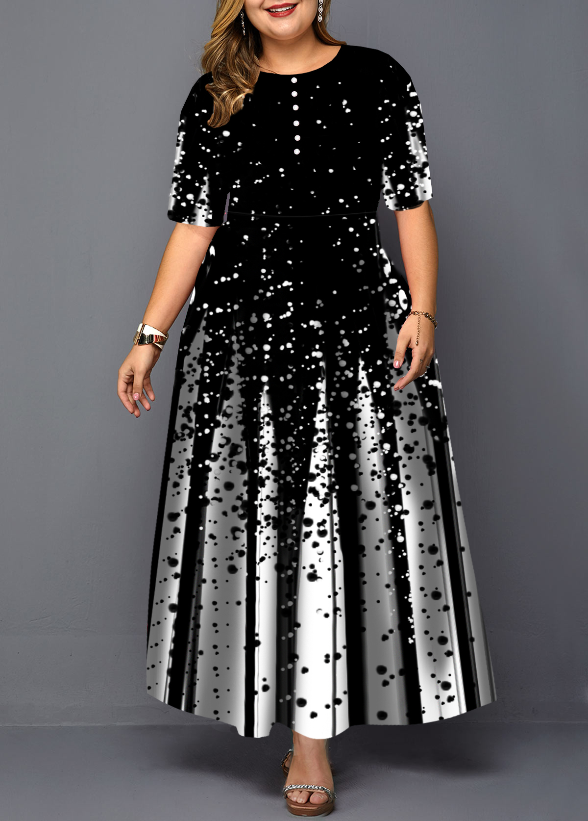 Plus Size Pearl Embellished Printed Dress