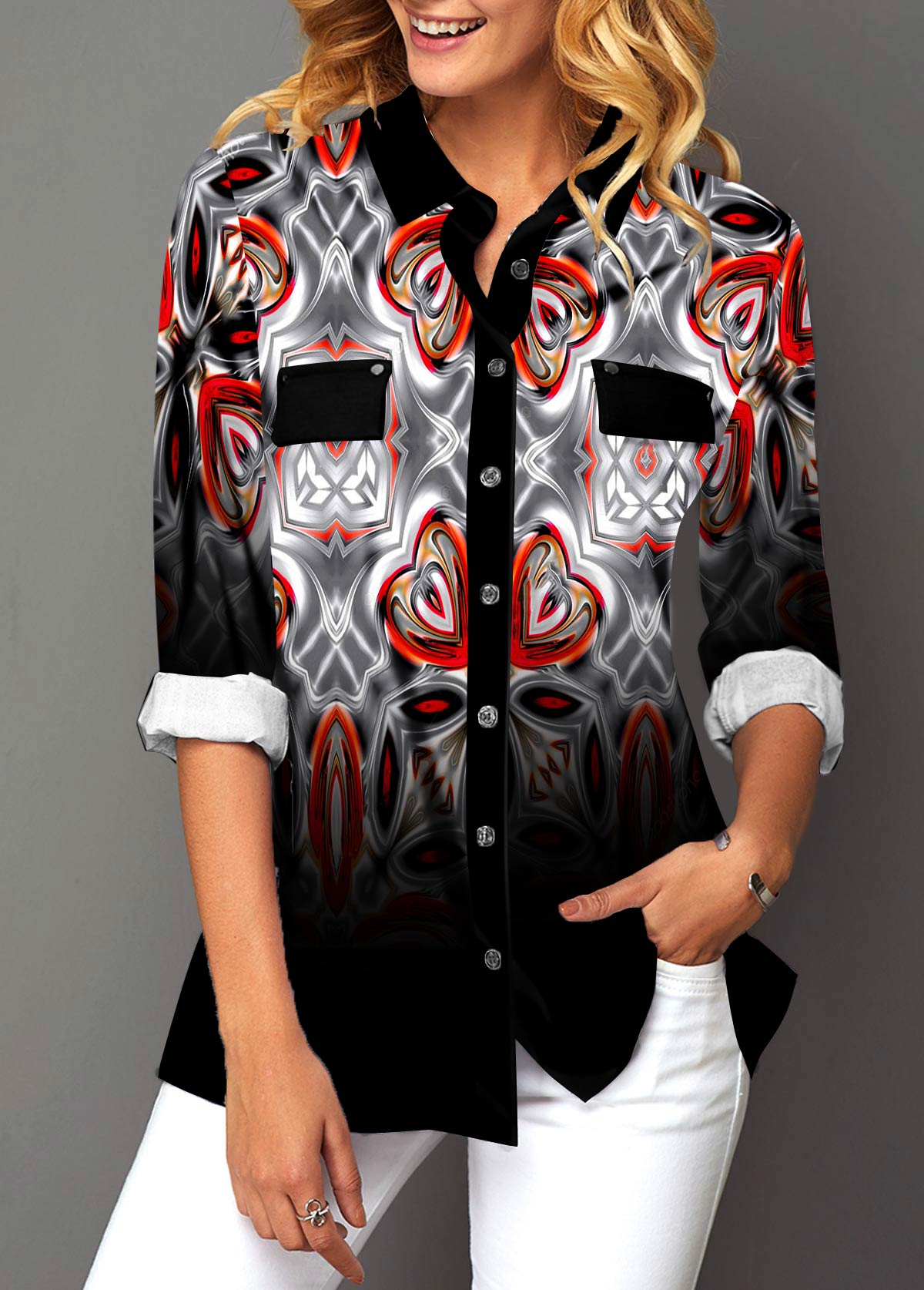 Button Up Turndown Collar Geometric Print Shirt