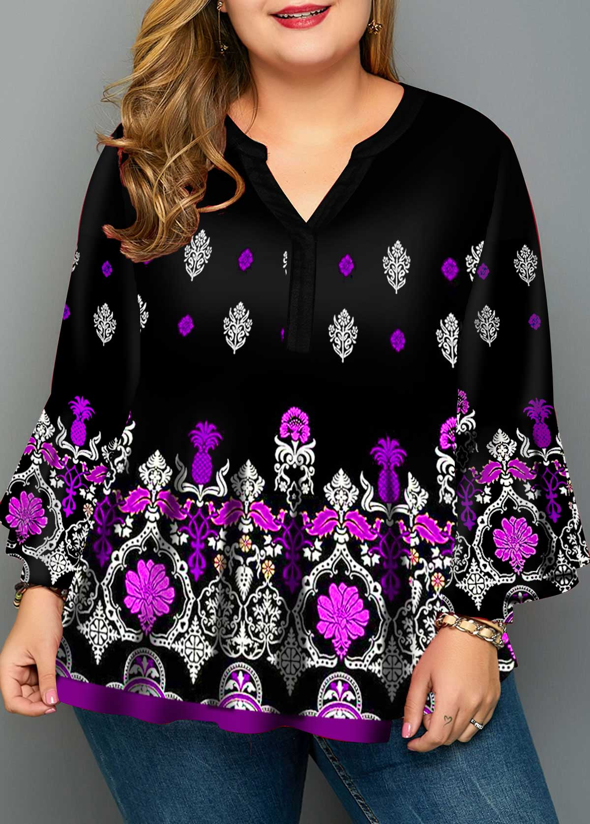 Plus Size Crinkle Chest Tribal Print Blouse