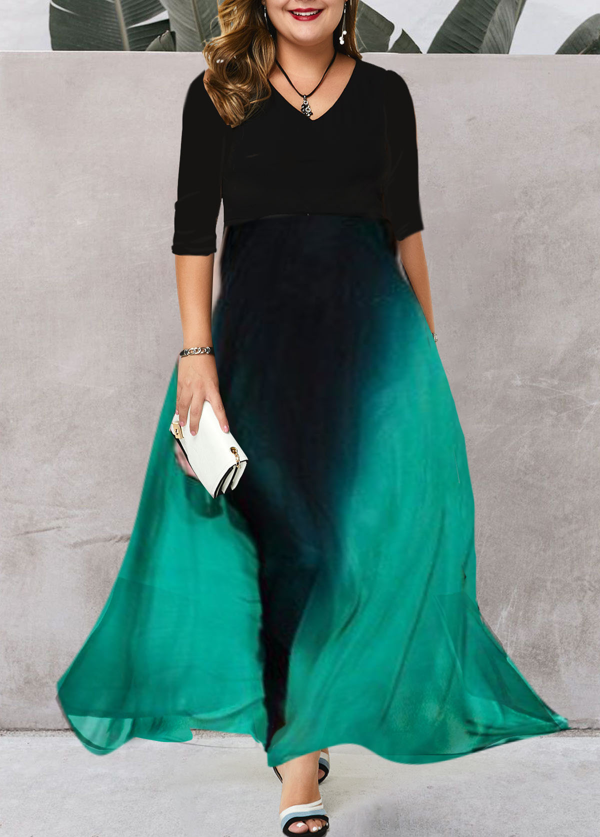 Plus Size V Neck Printed Dress