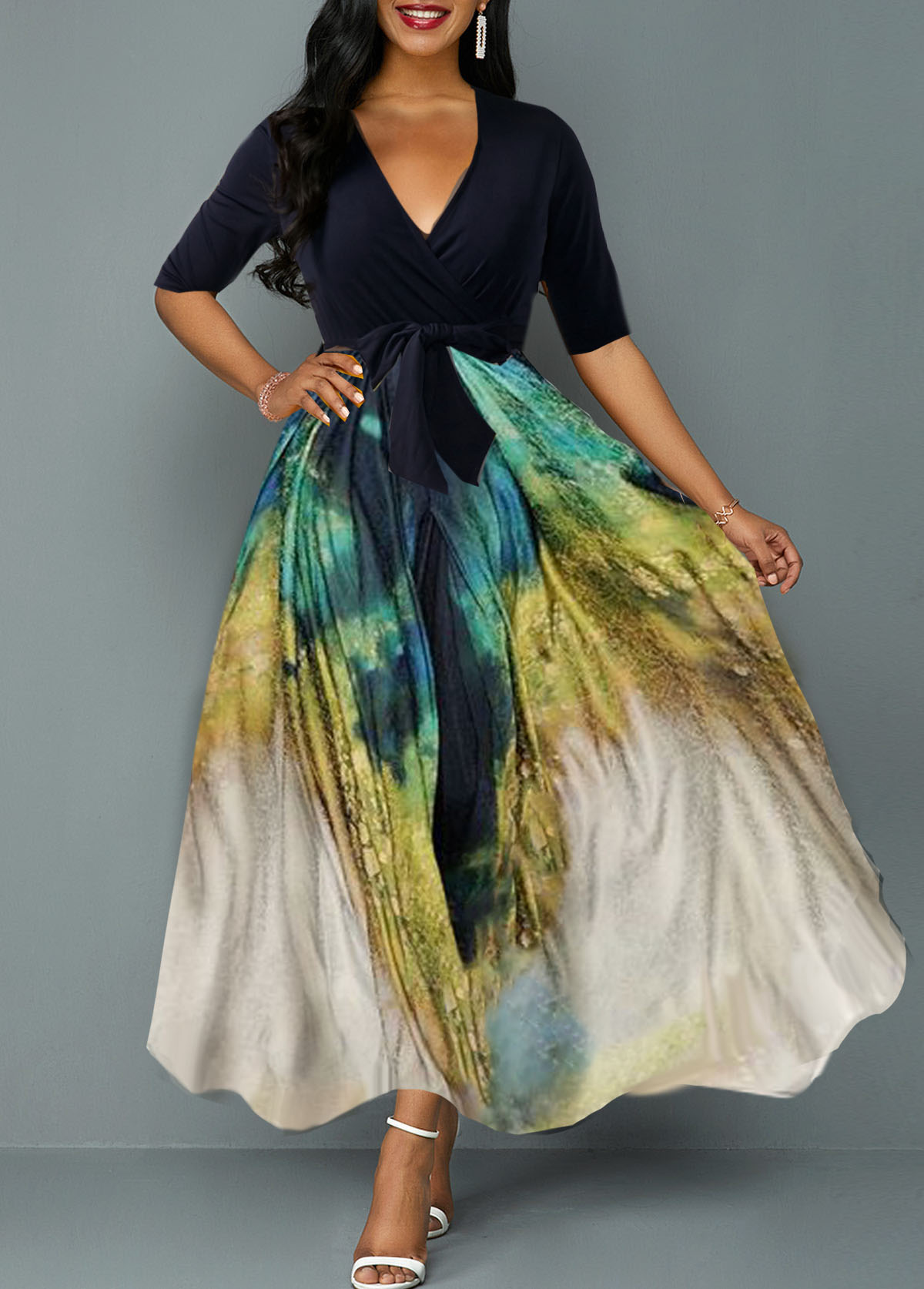Half Sleeve V Neck Printed Dress