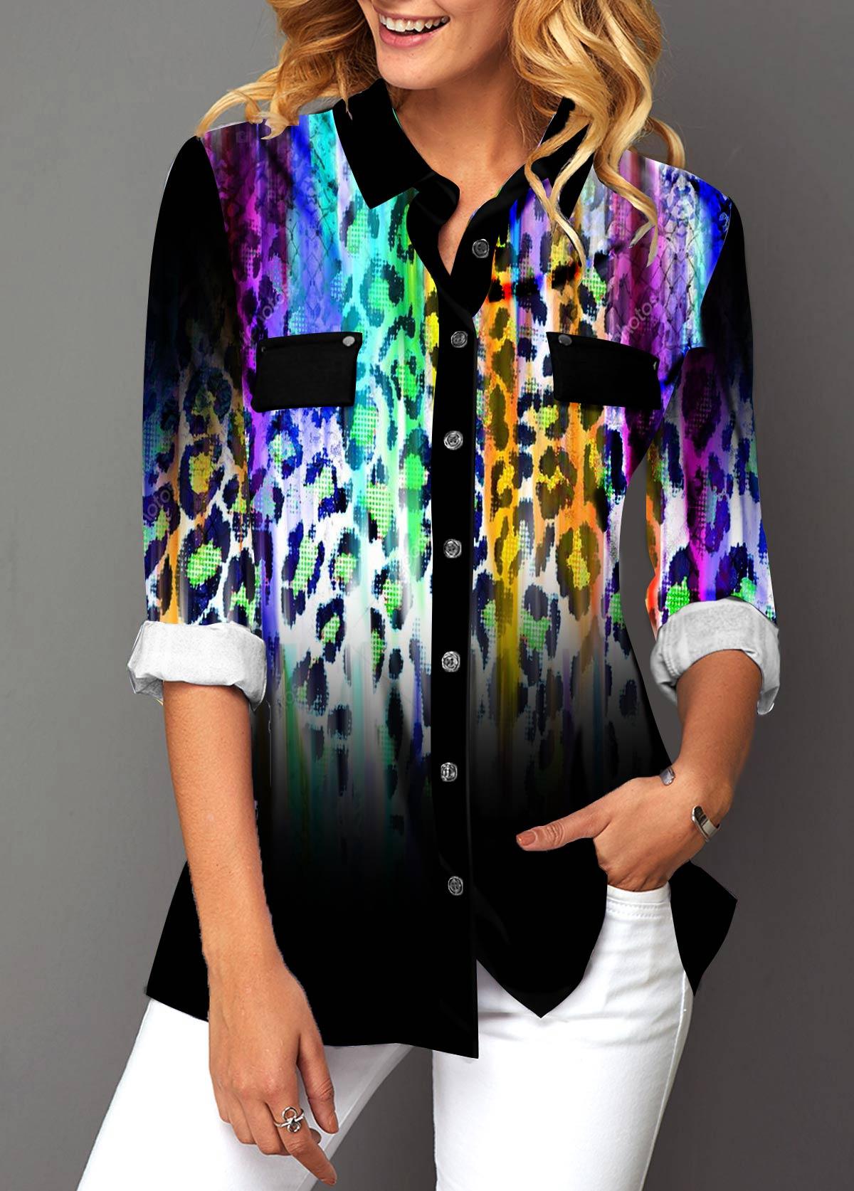 Gradient Leopard Print Button Up Turndown Collar Blouse