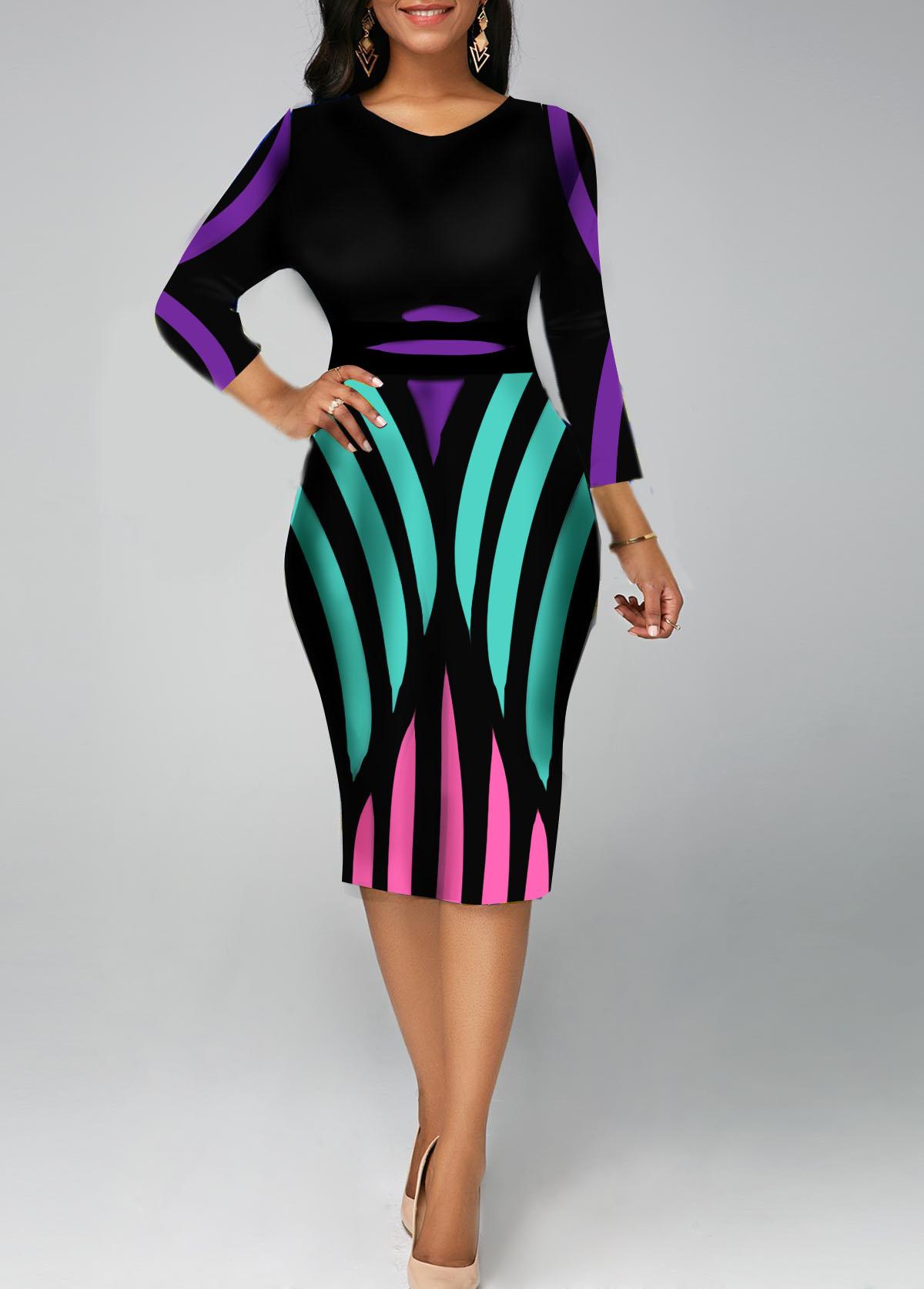 Stripe Print Three Quarter Sleeve V Neck Sheath Dress
