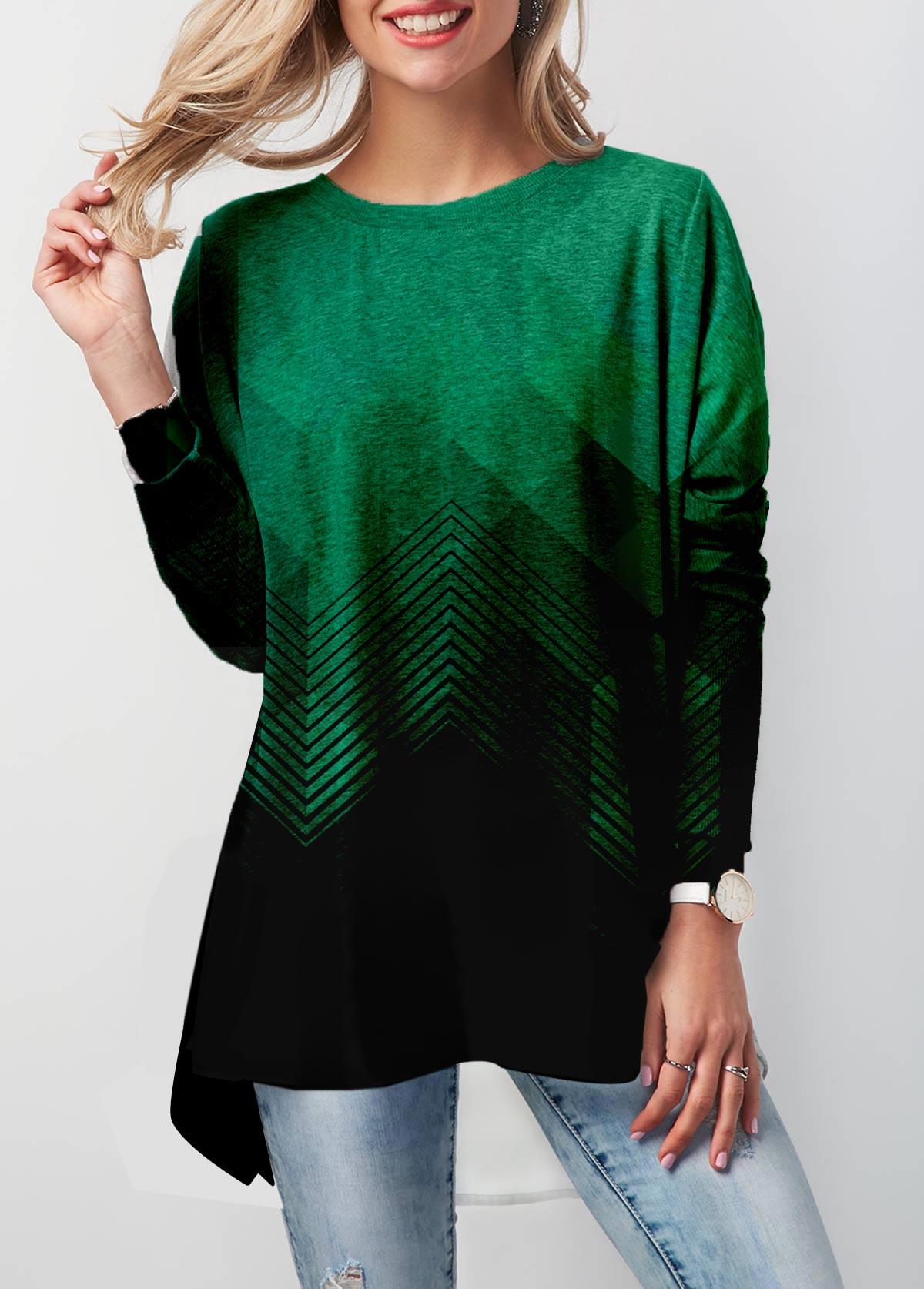 Geometric Print Gradient Long Sleeve T Shirt