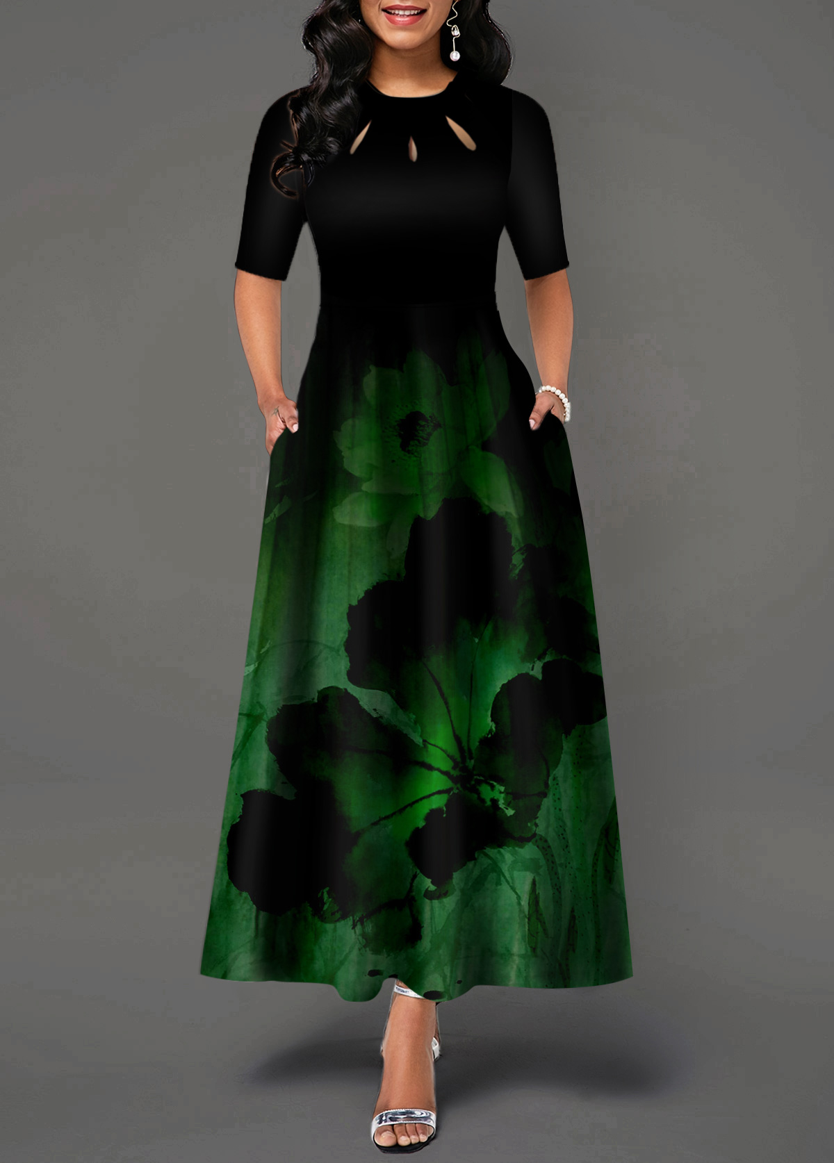 Lotus Print Half Sleeve Maxi Dress