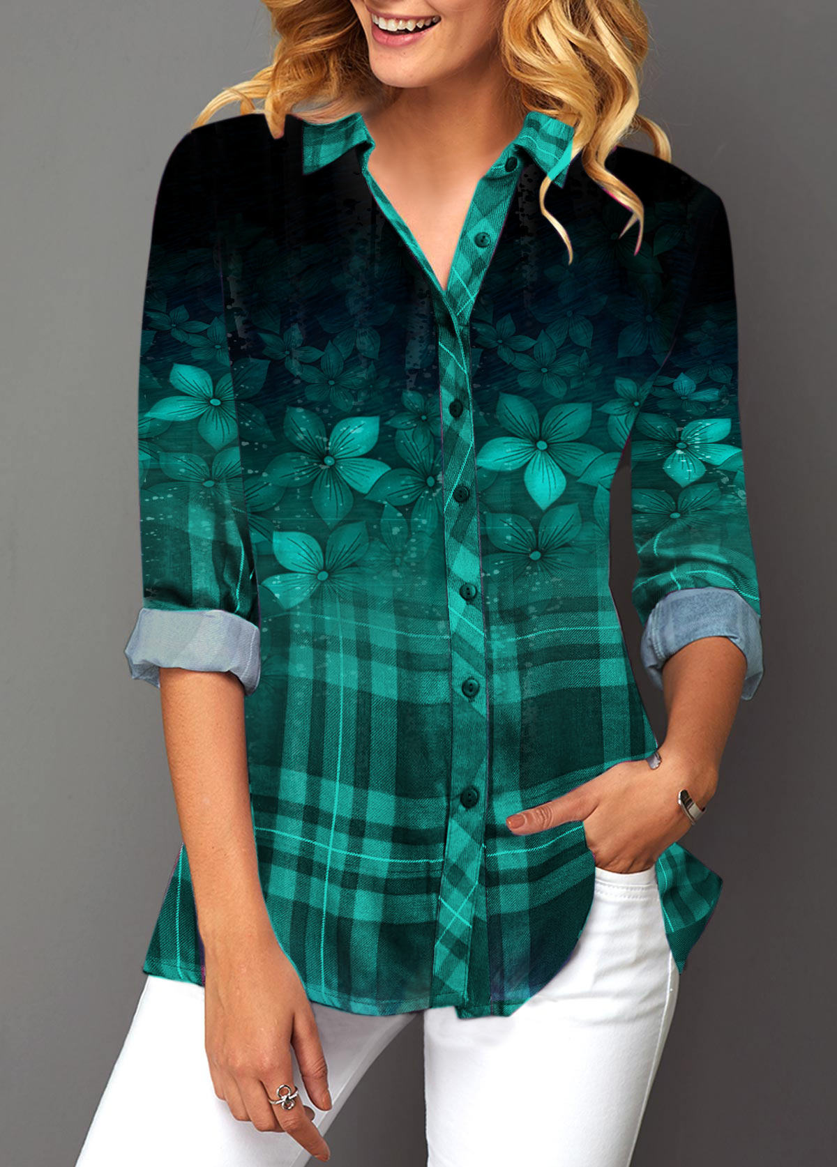 Turndown Collar Button Up Long Sleeve Blouse