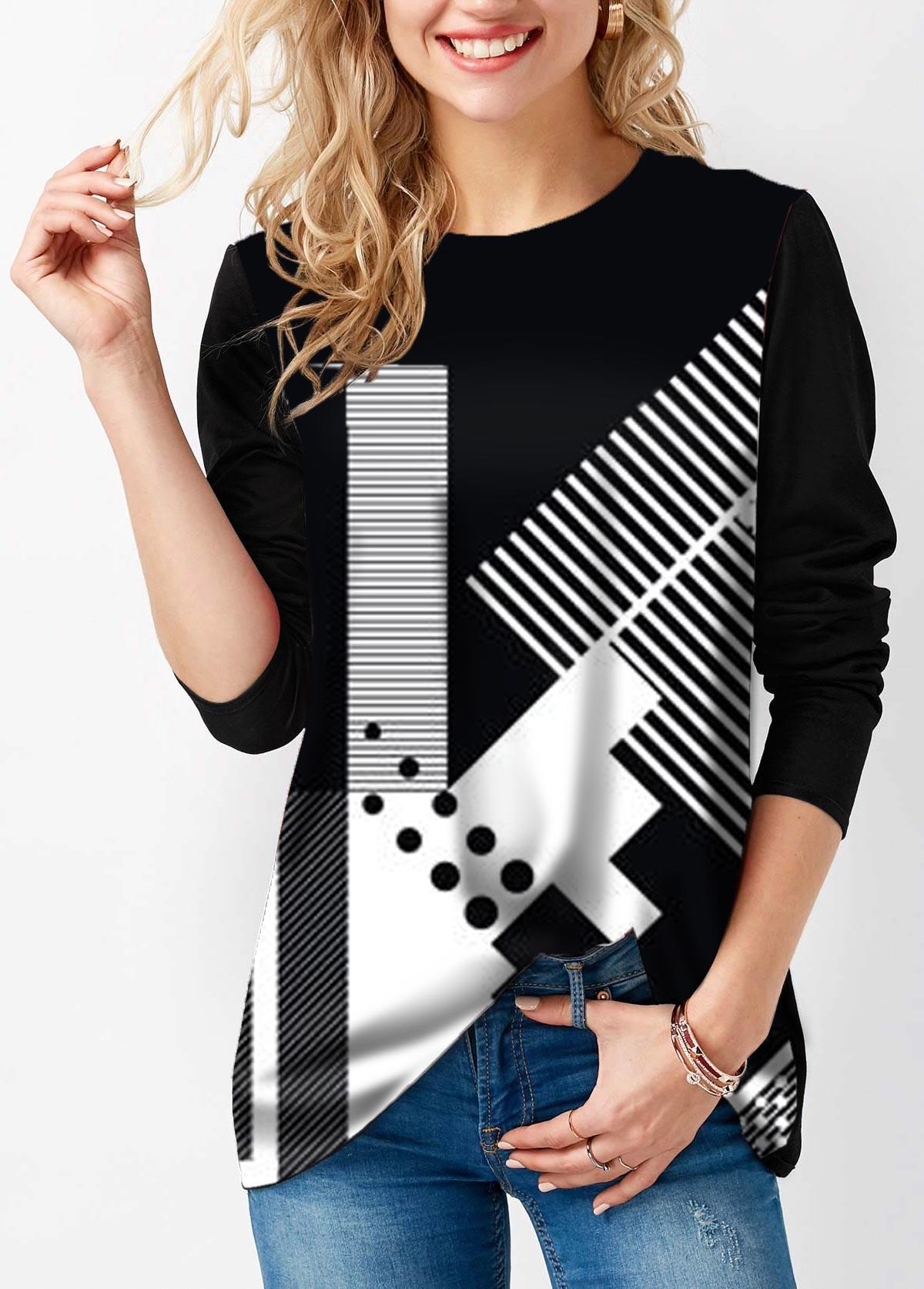 Geometric Print Round Neck Long Sleeve T Shirt