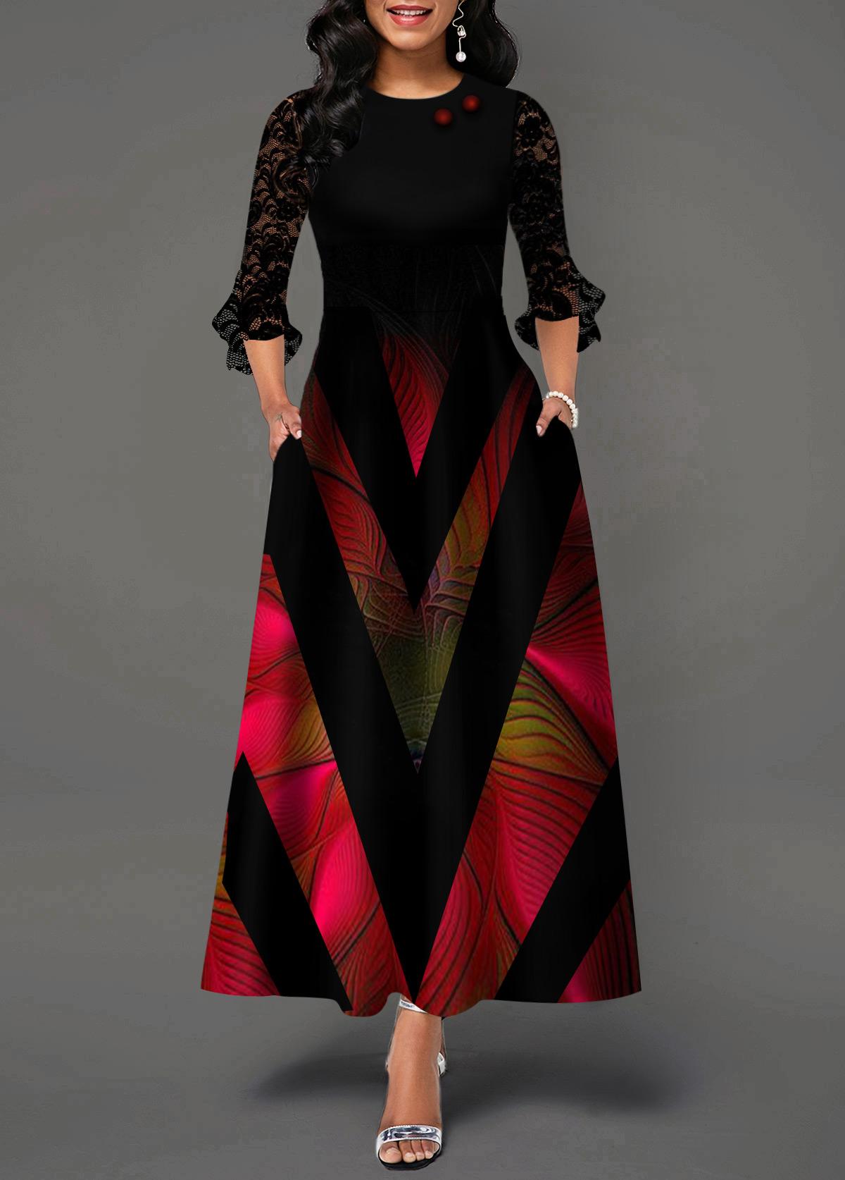 Lace Panel Geometric Print Flare Cuff Maxi Dress