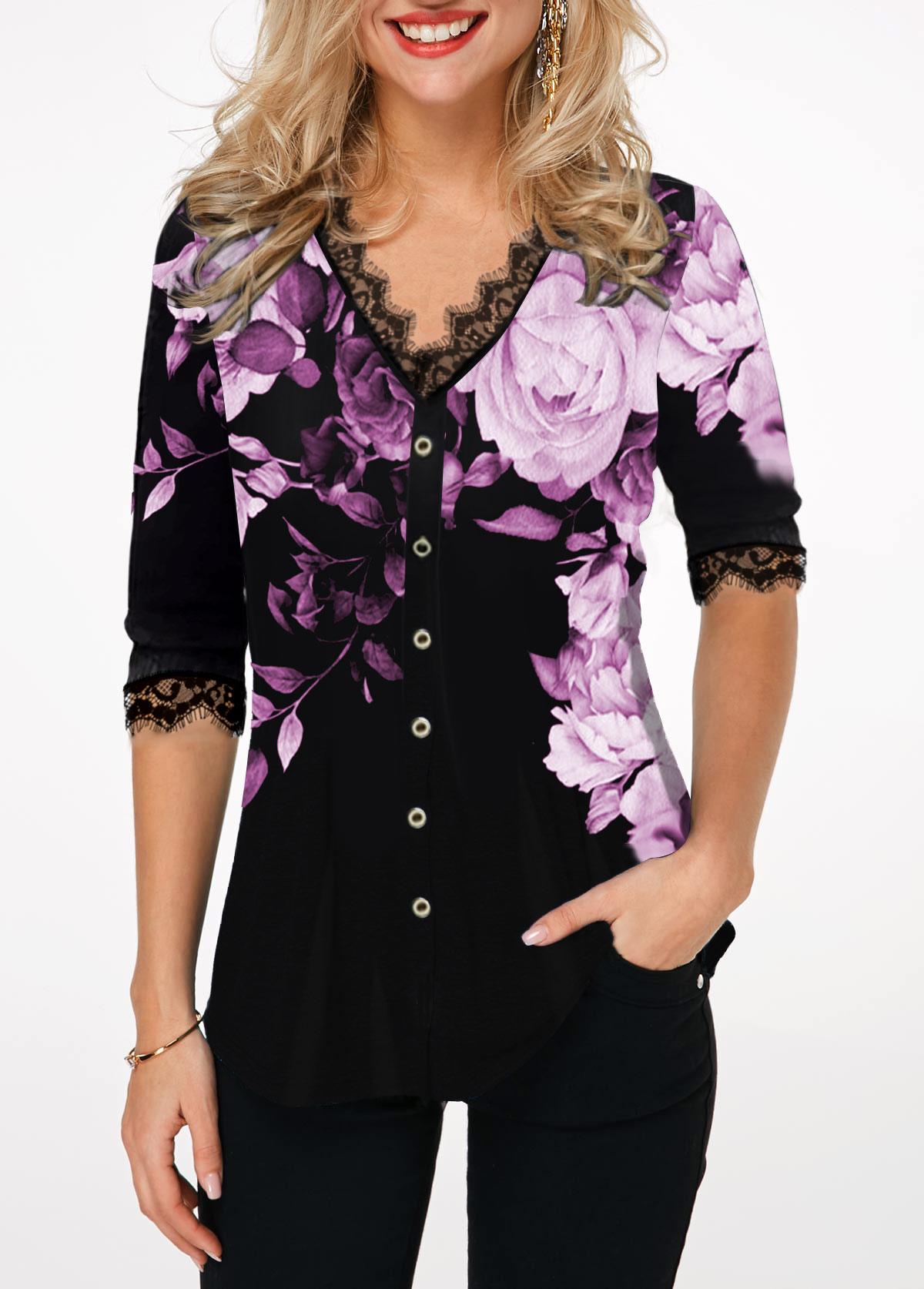 Button Up Lace Panel Flower Print T Shirt