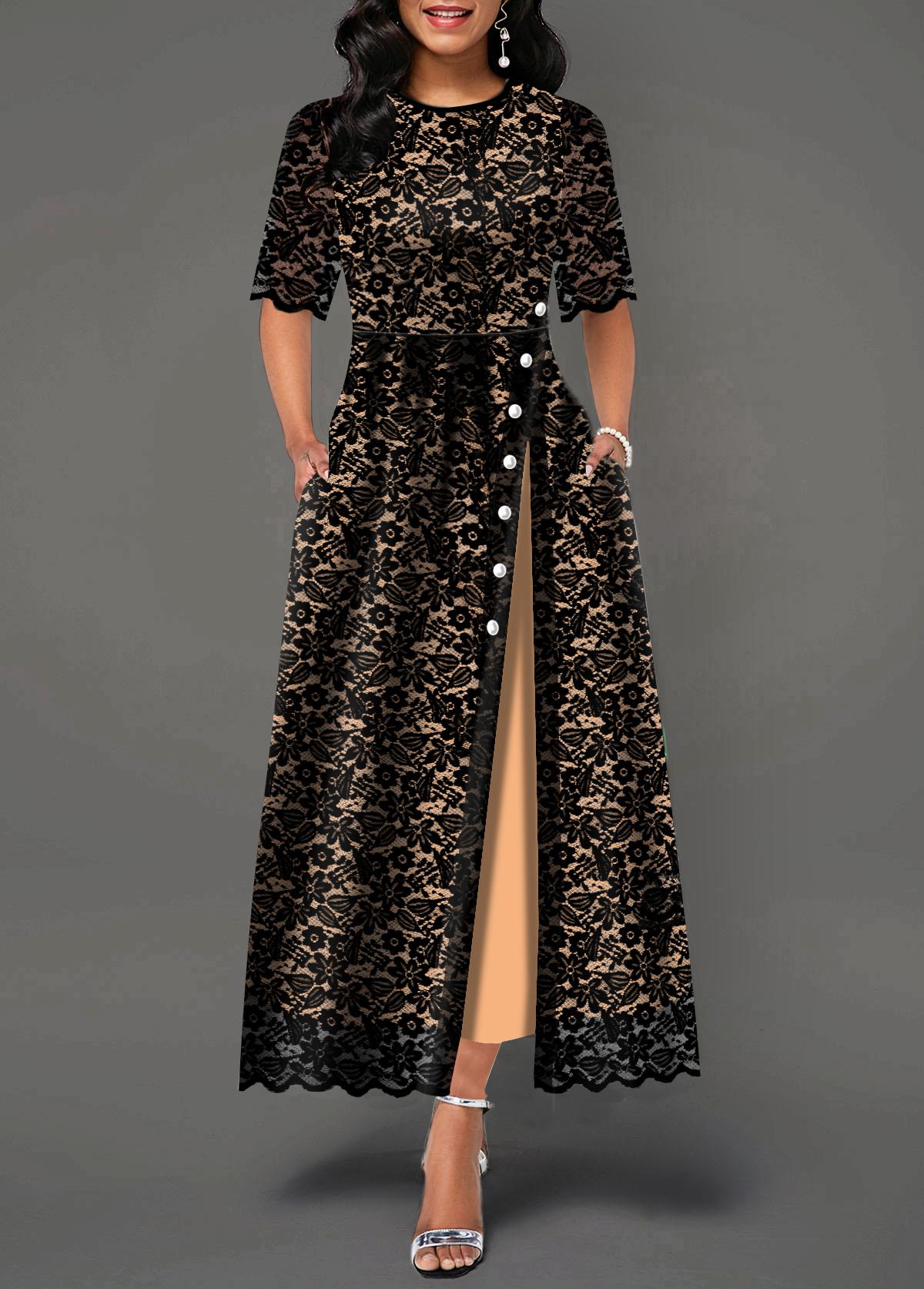 Half Sleeve Button Detail Split Side Lace Maxi Dress