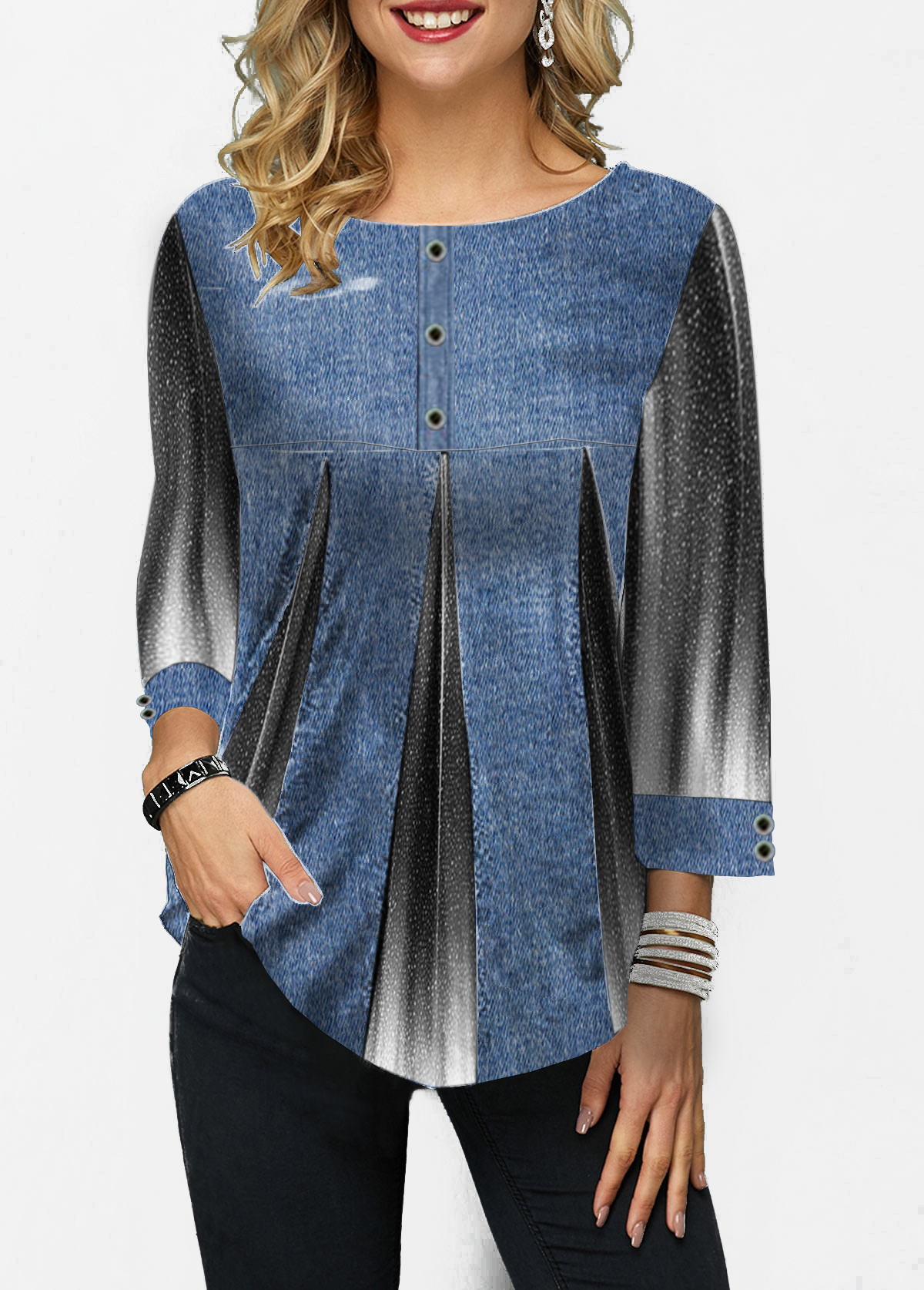 Round Neck Three Quarter Sleeve Printed Blouse