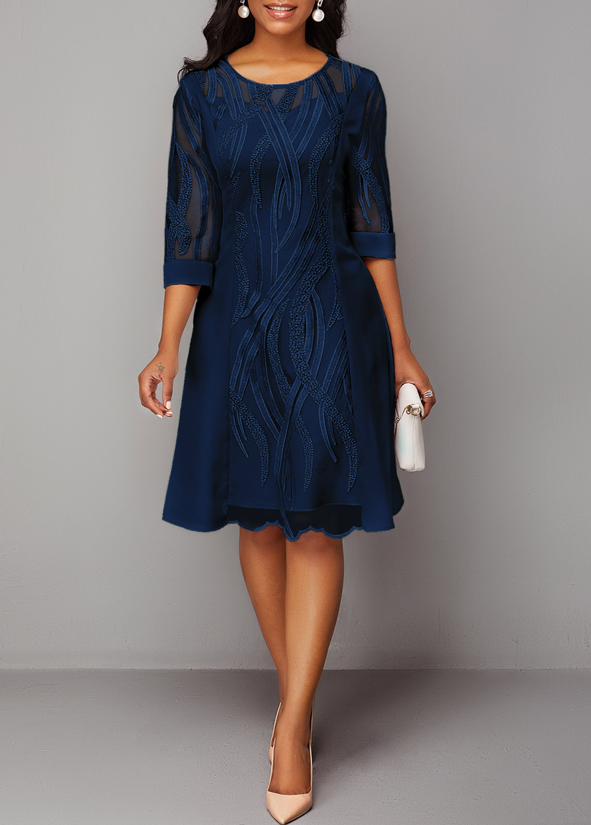 Navy Blue Round Neck Three Quarter Sleeve Lace Dress