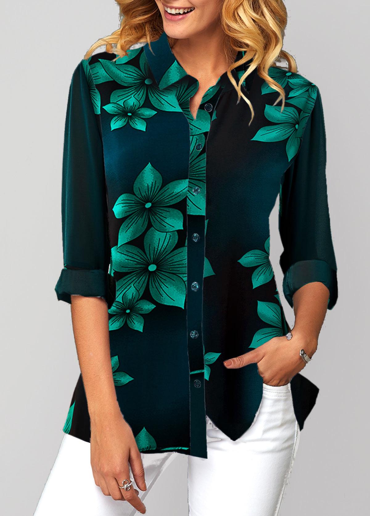 Button Up Turndown Collar Flower Print Shirt