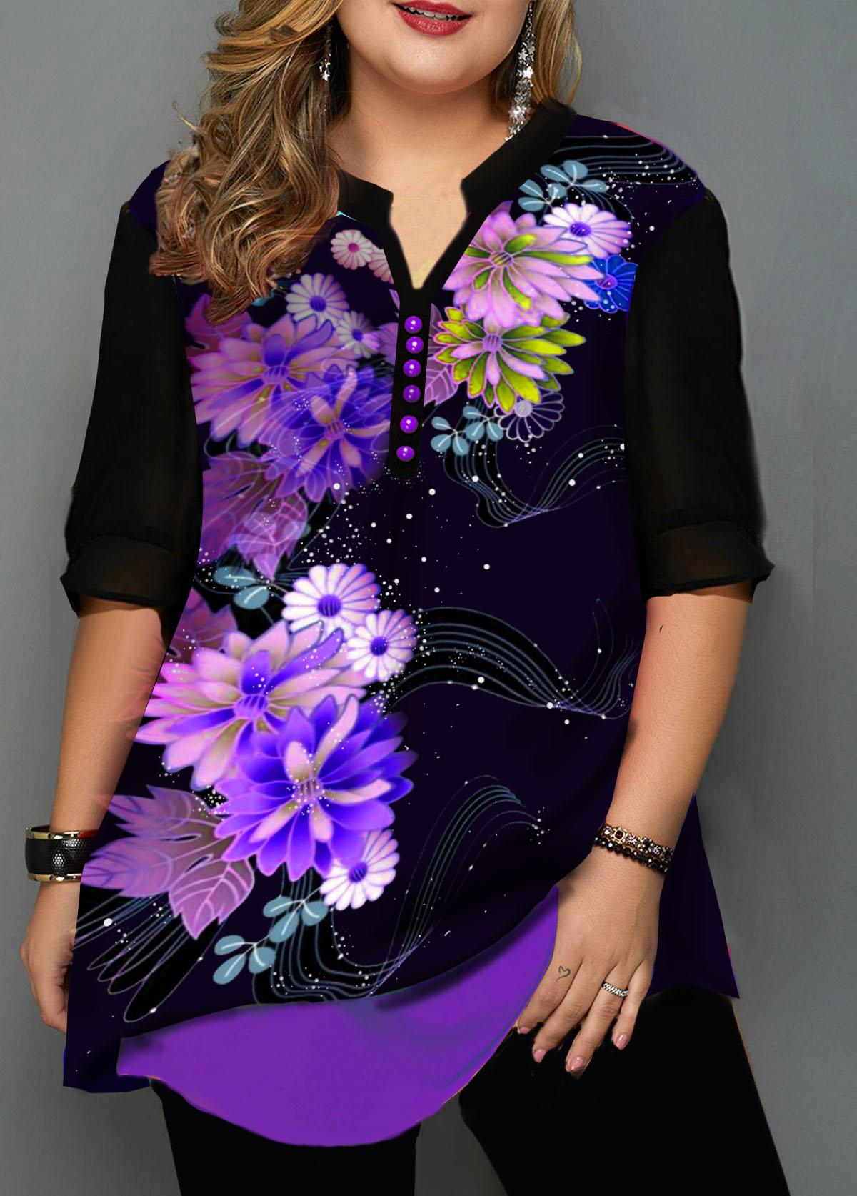 Plus Size Floral Print Split Neck Blouse