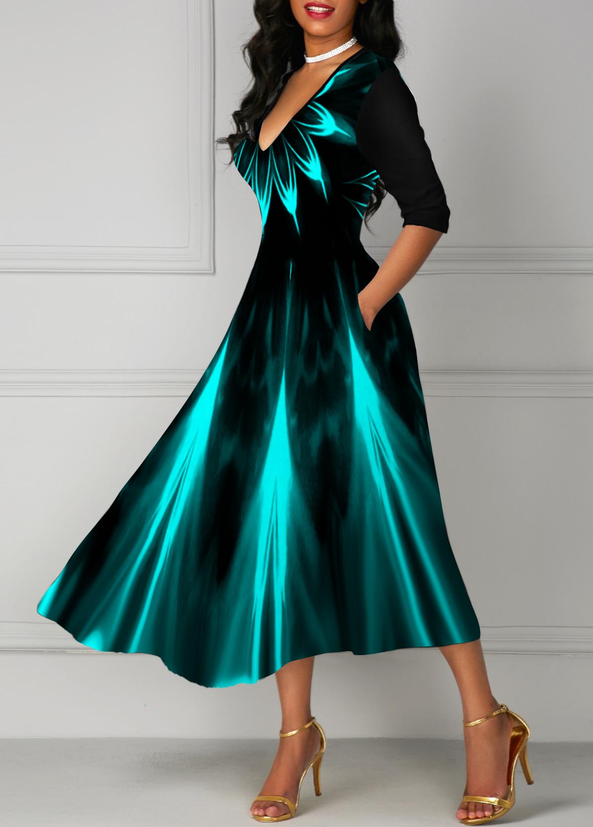 Printed V Neck High Waist Dress