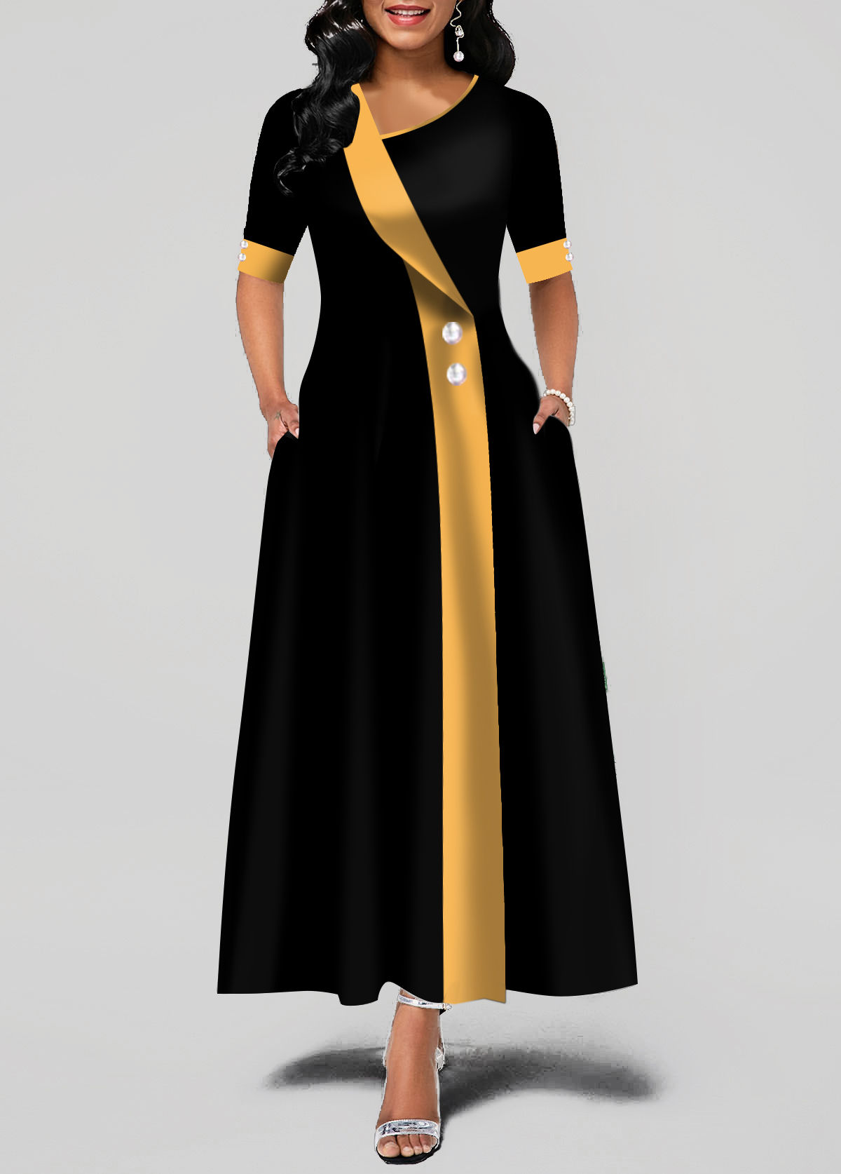 Button Detail Asymmetric Neck Pocket Maxi Dress