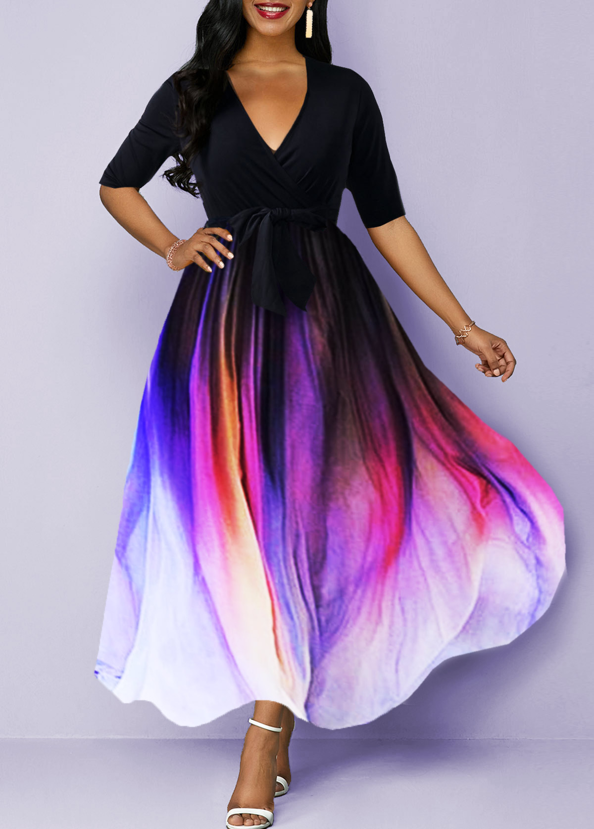 Gradient Plunging Neck Belted Half Sleeve Maxi Dress